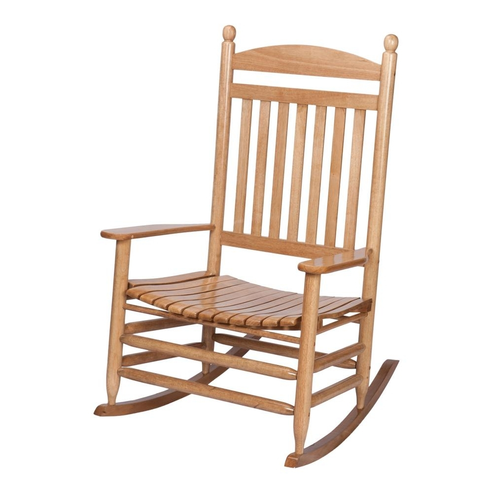 2017 Rocking Chairs At Home Depot Within Bradley Maple Jumbo Slat Wood Outdoor Patio Rocking Chair 1200Sm Rta (View 1 of 15)