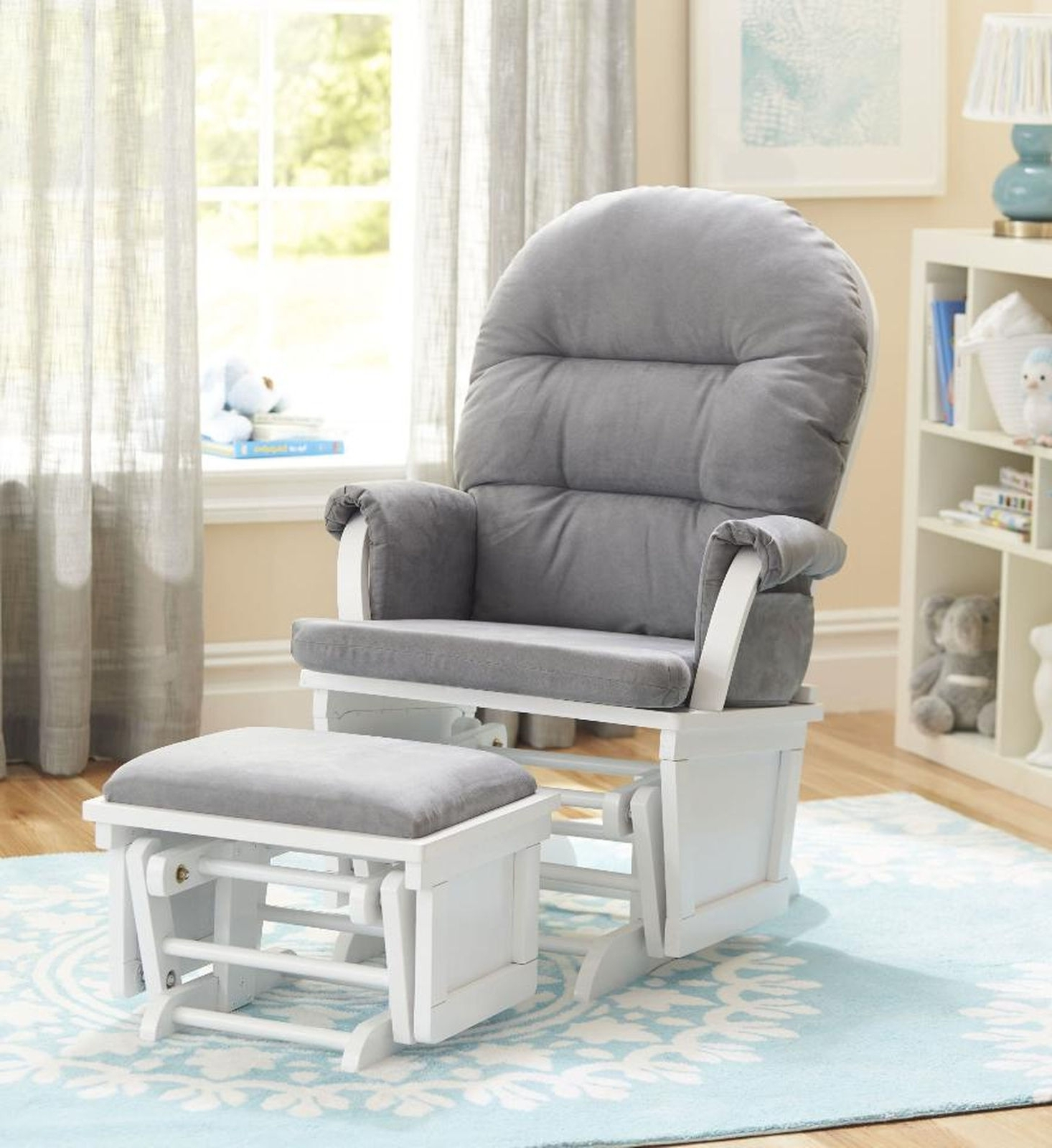 2017 Rocking Chairs For Nursery With Living Room Furniture : Shermag Aiden Glider Ottoman Set White With (View 4 of 15)