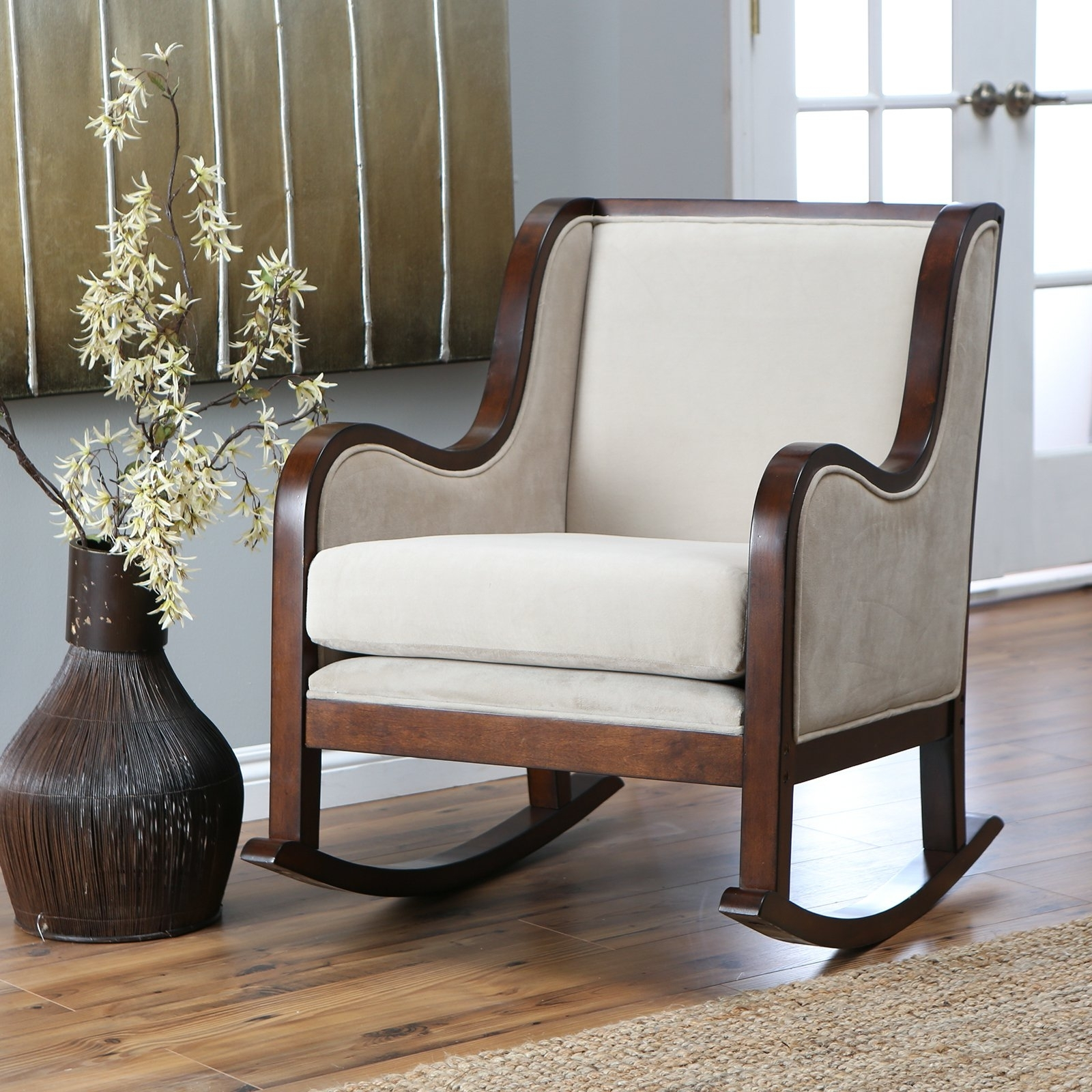 2017 Rocking Chairs For Small Spaces Throughout Grey Glider Recliner For Nursery – Kevinjohnsonformayor (View 1 of 15)