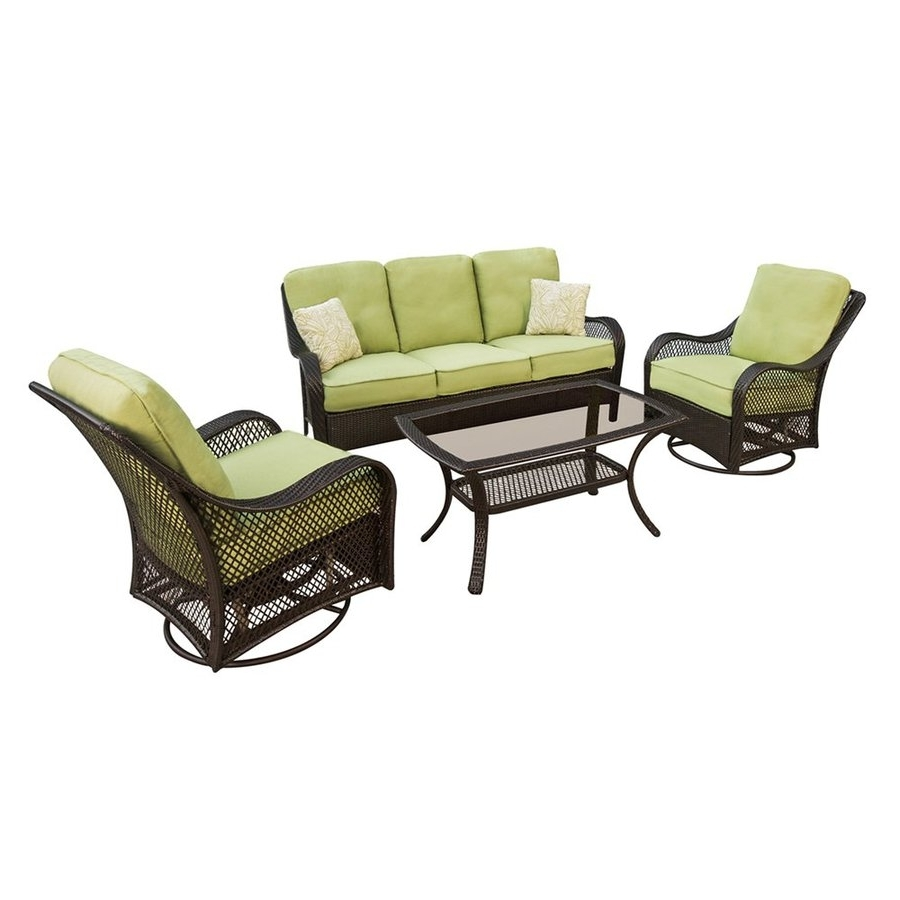 2017 Shop Hanover Outdoor Furniture Orleans 4 Piece Wicker Frame Patio Inside Patio Conversation Sets With Glider (View 1 of 15)