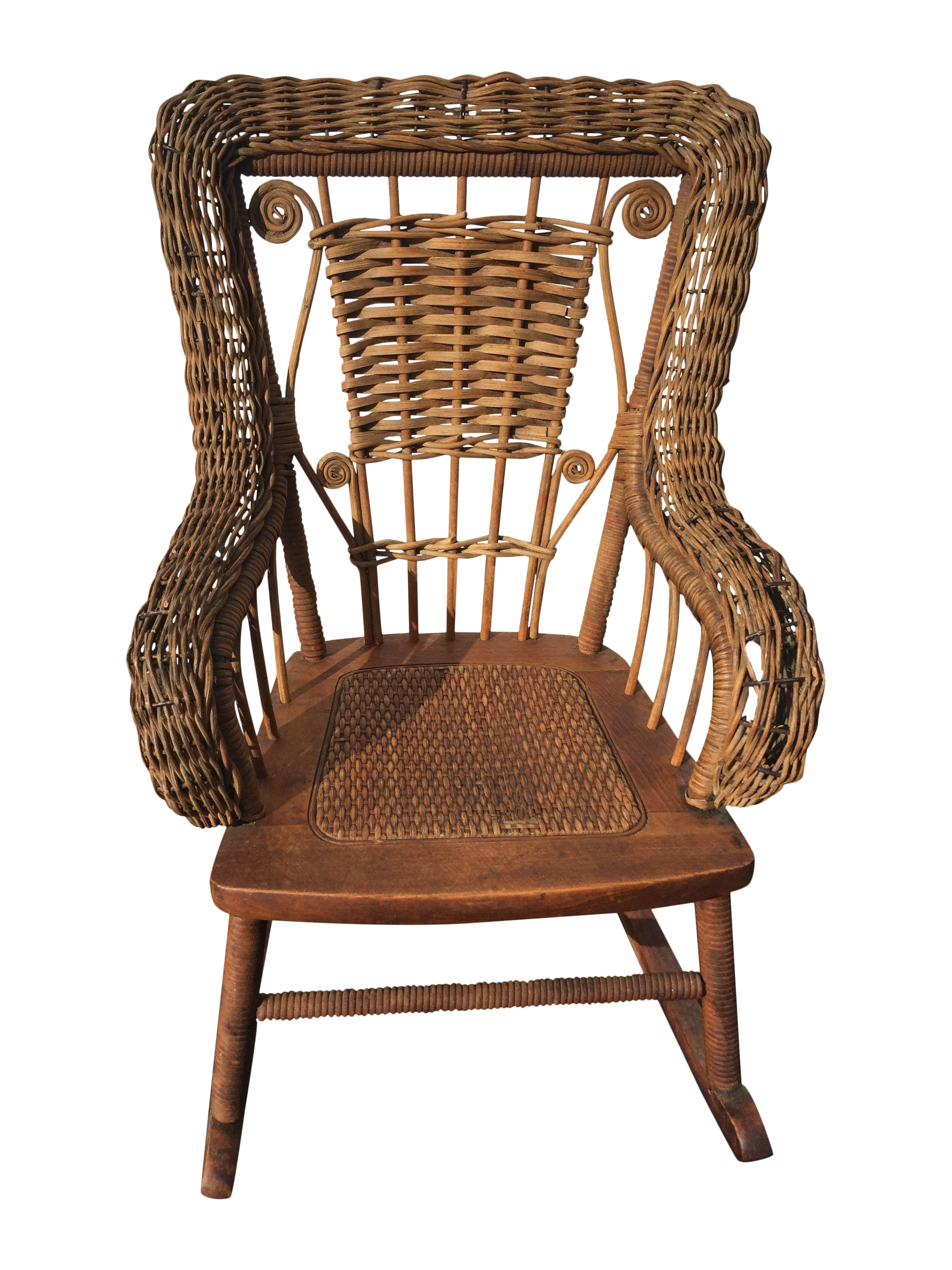 2017 Vintage Wicker Rocking Chairs Intended For Antique Childrens Wicker Spindle Rocking Chair Chairish Childs Uk (View 2 of 15)