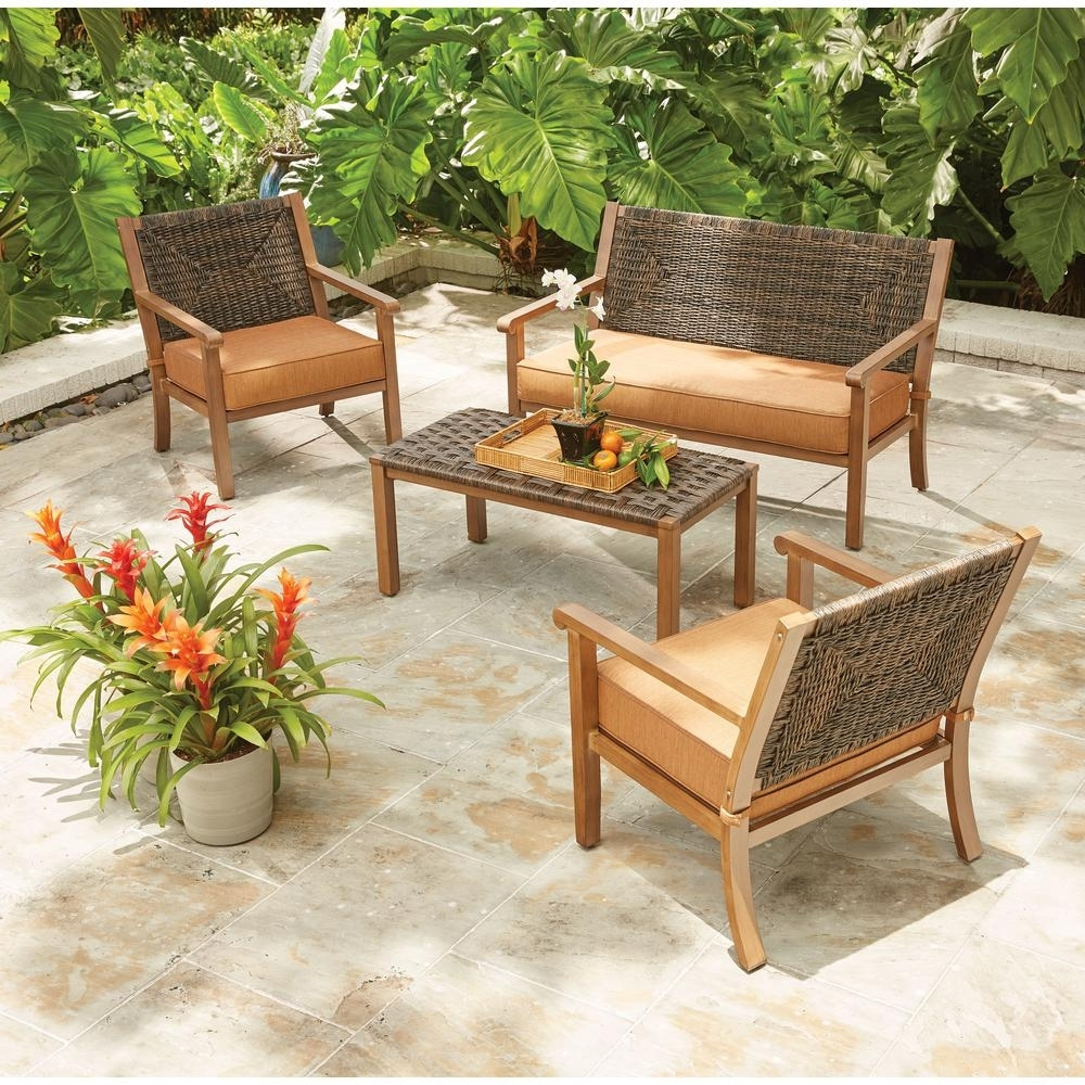 2017 Wood Patio Furniture Conversation Sets For Hampton Bay Kapolei 4 Piece Wicker Patio Conversation Set With (View 4 of 15)