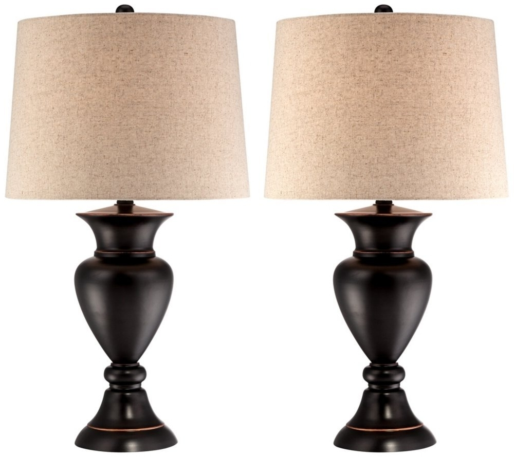 2018 Bronze Table Lamps For Living Room Set Of 2 Metal Urn Bronze Inside Bronze Living Room Table Lamps (View 1 of 15)