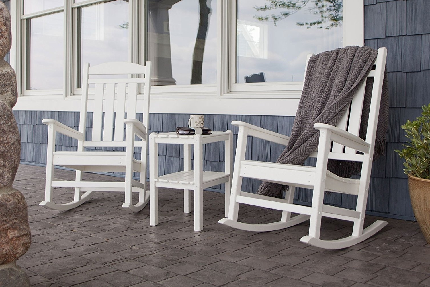 2018 Livingroom : Astonishing Com Polywood Pws138 Wh Presidential Piece For Outdoor Rocking Chairs With Table (View 2 of 15)