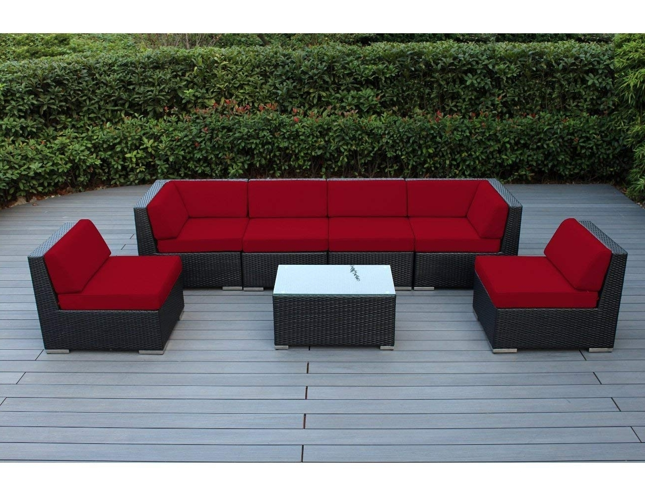 2018 Patio Conversation Sets Under $400 In Amazon: Ohana 7 Piece Outdoor Patio Furniture Sectional (View 1 of 15)