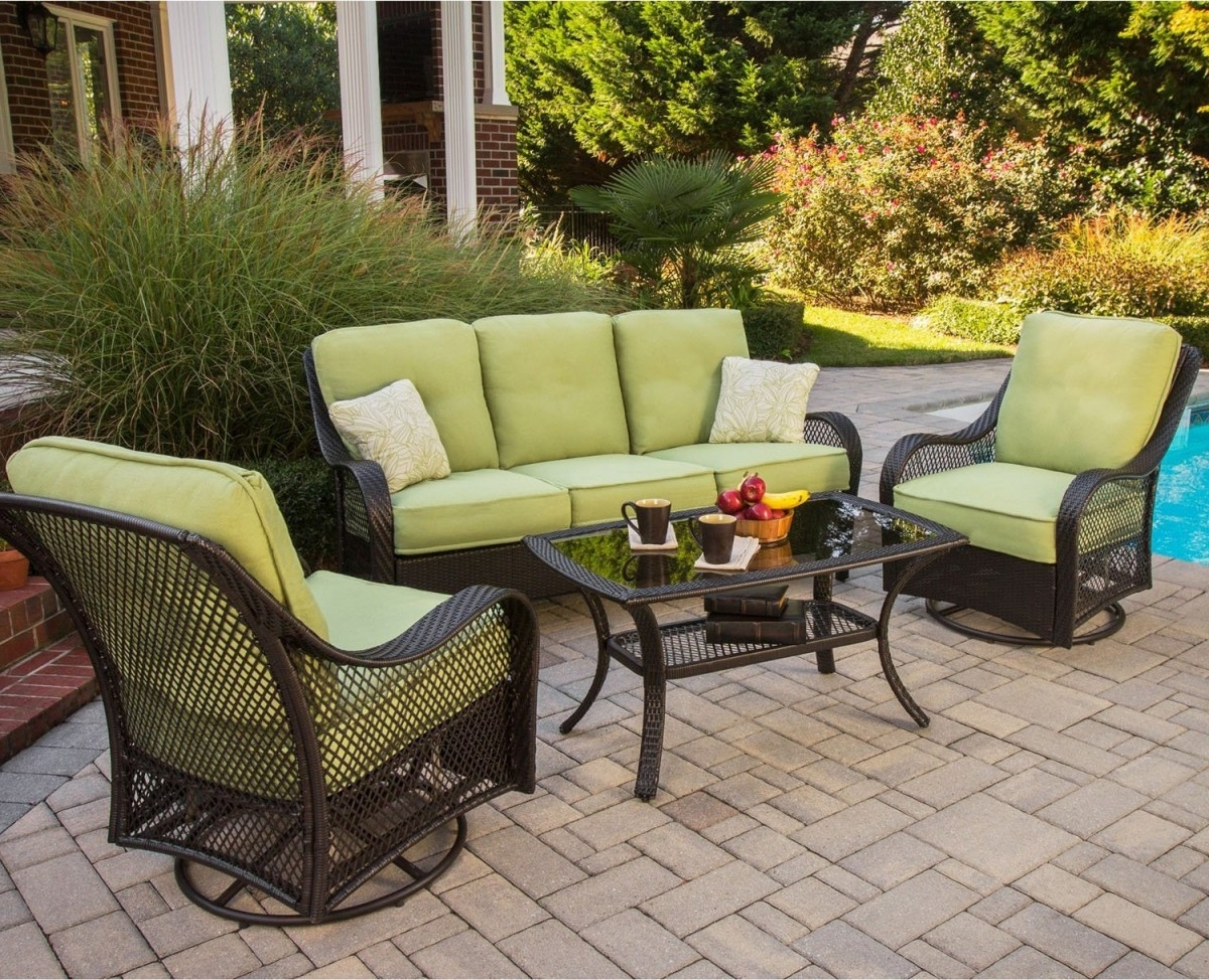 2018 Patio Conversation Sets Without Cushions Pertaining To Hanover Orleans 4 Piece Outdoor Conversation Set With Swivel Glider (View 10 of 15)