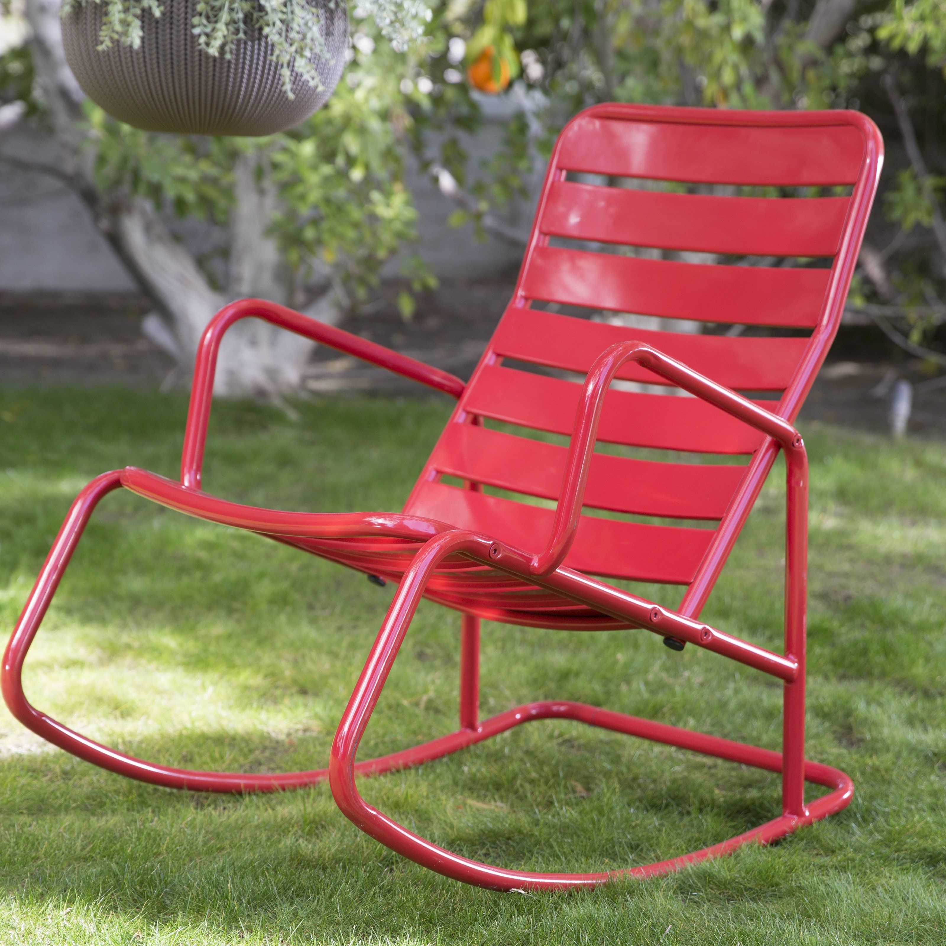 2018 Red Patio Rocking Chairs For Belham Living Adley Outdoor Metal Slat Rocking Chair – Contemporary (View 2 of 15)