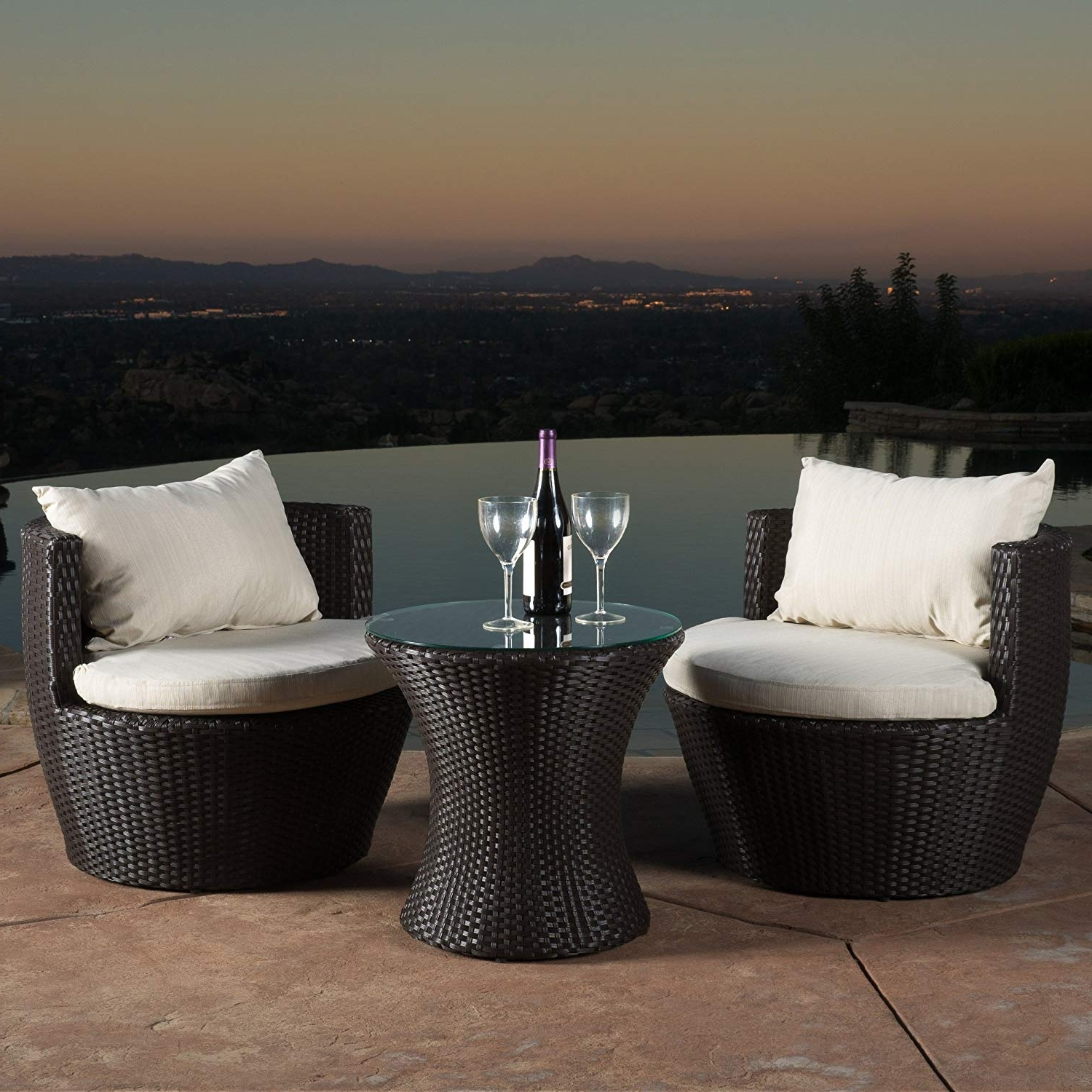 3 Piece Patio Conversation Sets with regard to Current Amazon : Christopher Knight Home 296323 Kyoto 3 Piece Chat Set