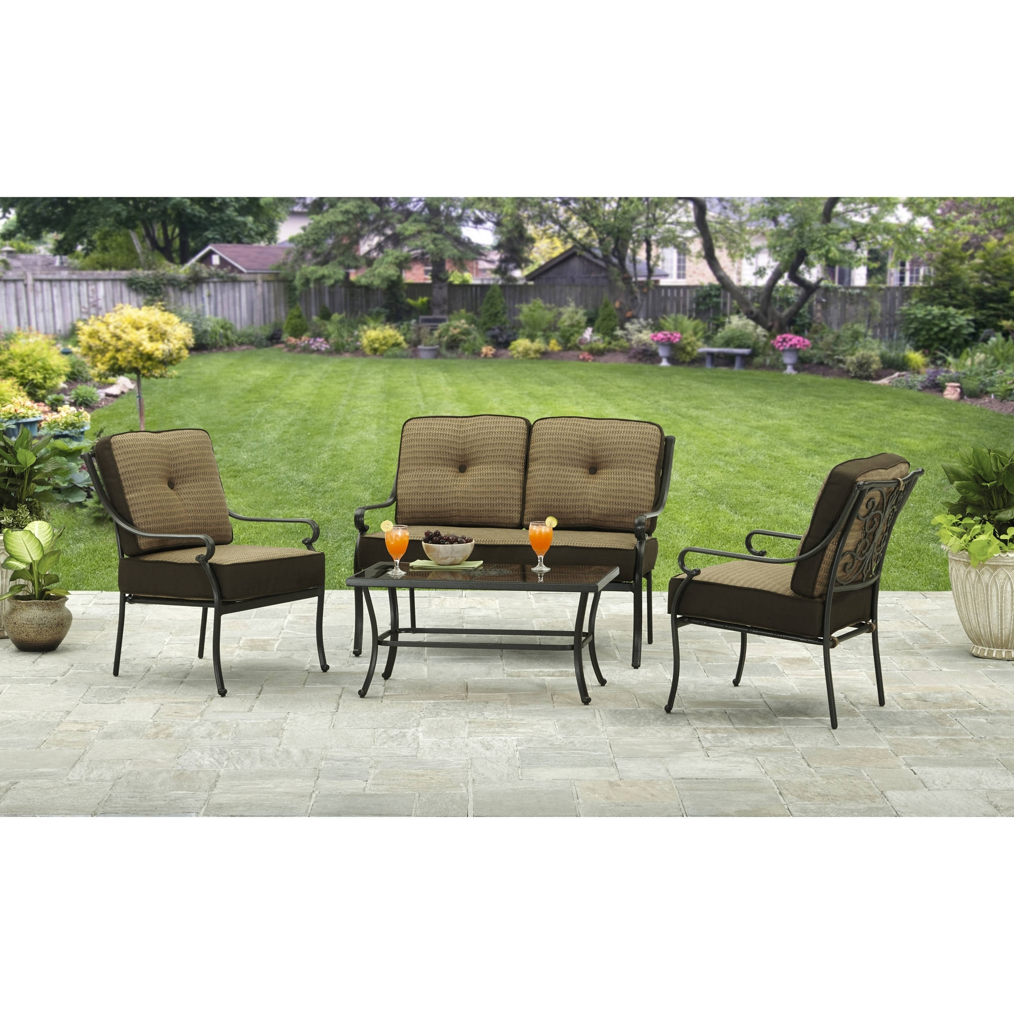 4 Piece Patio Conversation Sets in Preferred Better Homes And Gardens Bailey Ridge 4 Piece Outdoor Conversation