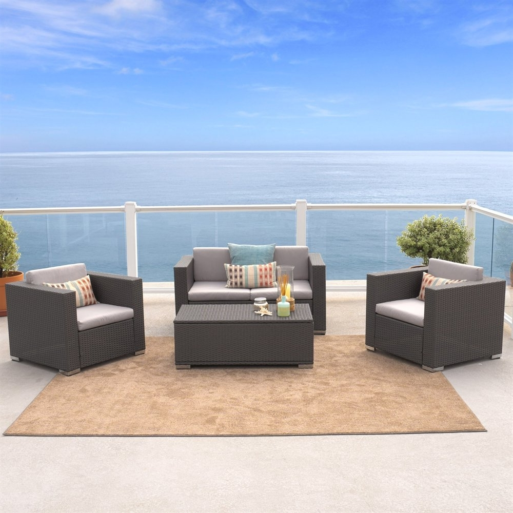 4 Piece Patio Conversation Sets throughout Well-liked Best Selling Home Decor Puerta 4-Piece Outdoor Wicker Sofa Set