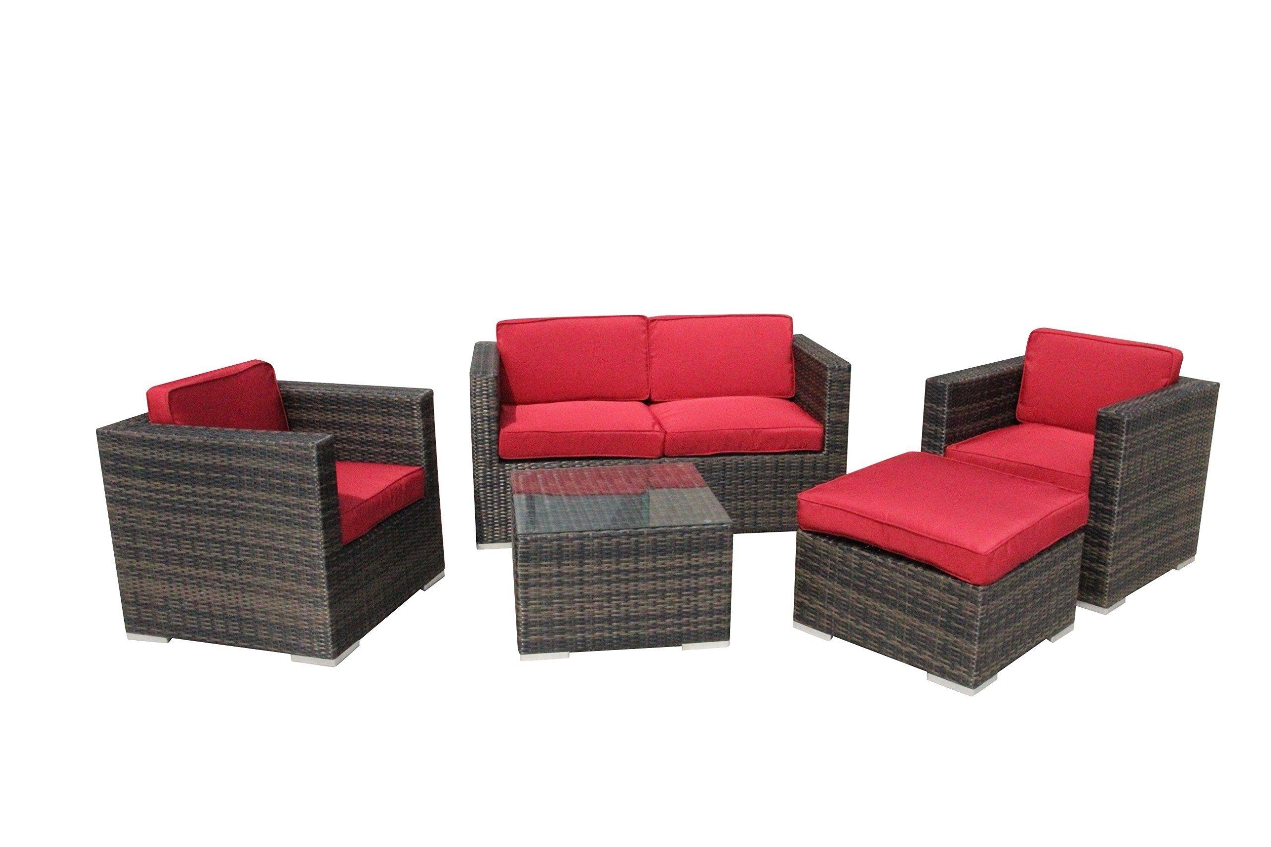 5 Piece Conversation Set Patio Sofa Set Red — Read More At The Regarding Newest Nfm Patio Conversation Sets (View 13 of 15)