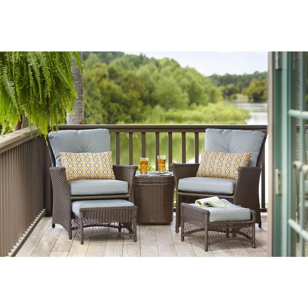 5 Piece Patio Conversation Sets Pertaining To Well Liked Hampton Bay Blue Hill 5 Piece Patio Conversation Set With Blue Green (View 12 of 15)
