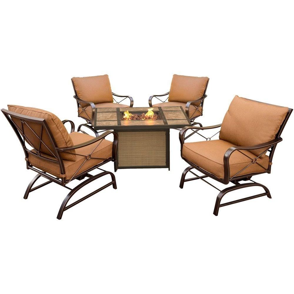5 Piece Patio Conversation Sets With Well Known Hanover Summer Nights 5 Piece Metal Patio Conversation Set With Tile (View 4 of 15)