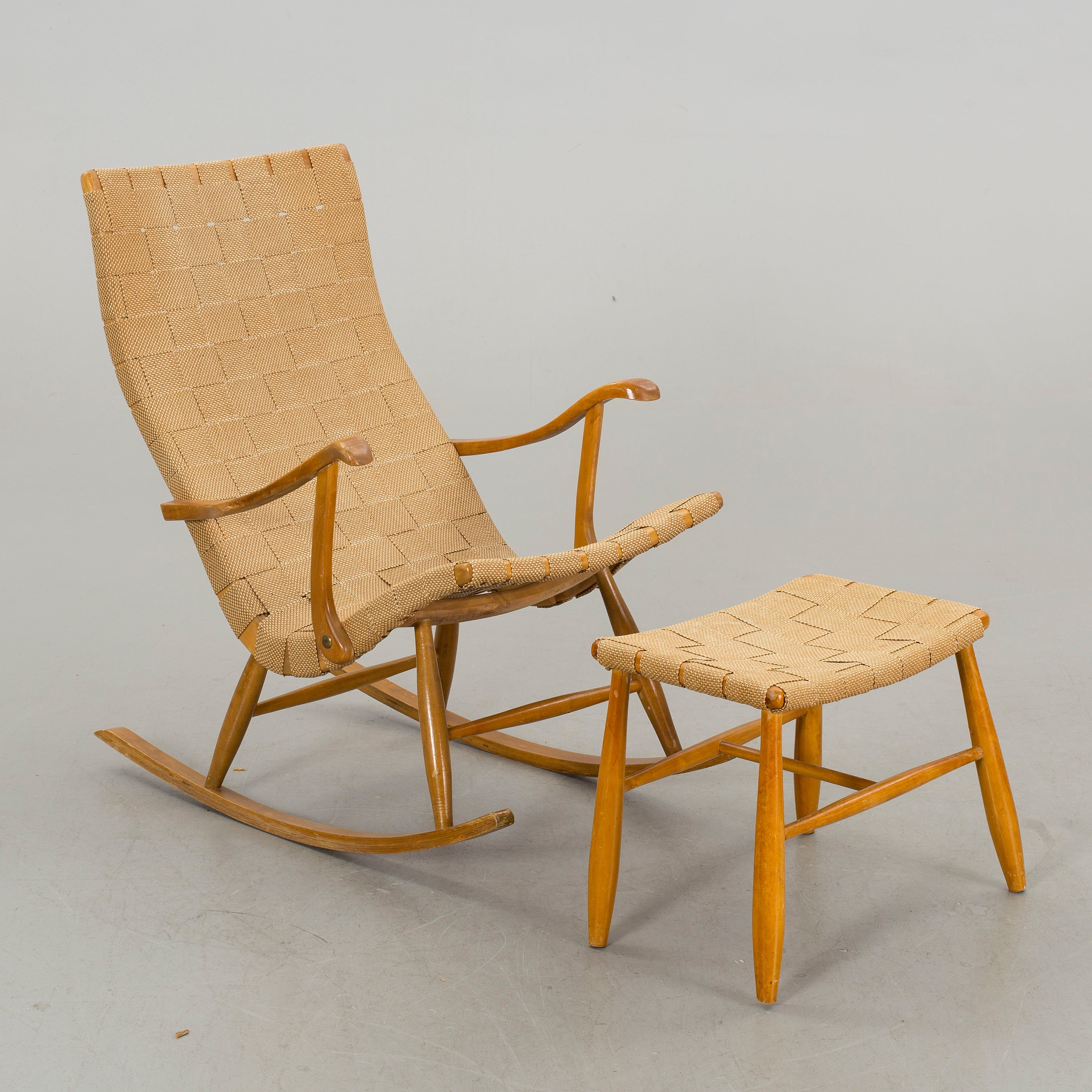 A Rocking Chair With Footstool, 1940/50S, – Bukowskis With 2017 Rocking Chairs With Footstool (View 14 of 15)