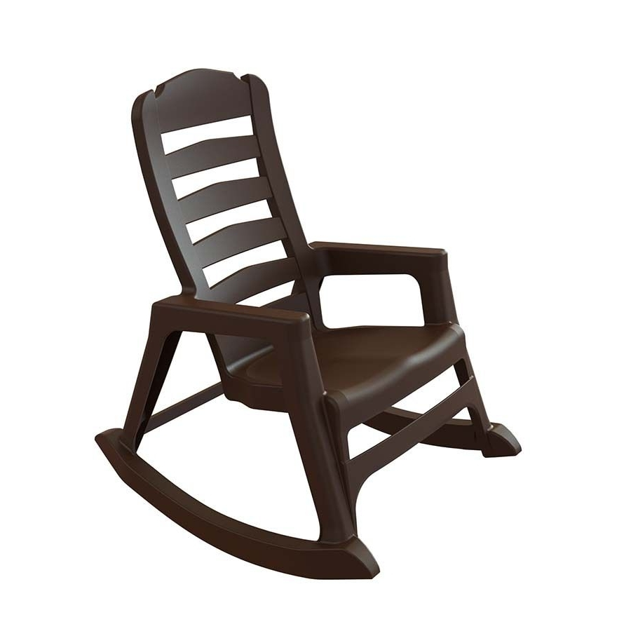 Adams Mfg Corp Earth Brown Resin Stackable Patio Rocking Chair Throughout Best And Newest Resin Patio Rocking Chairs (View 1 of 15)