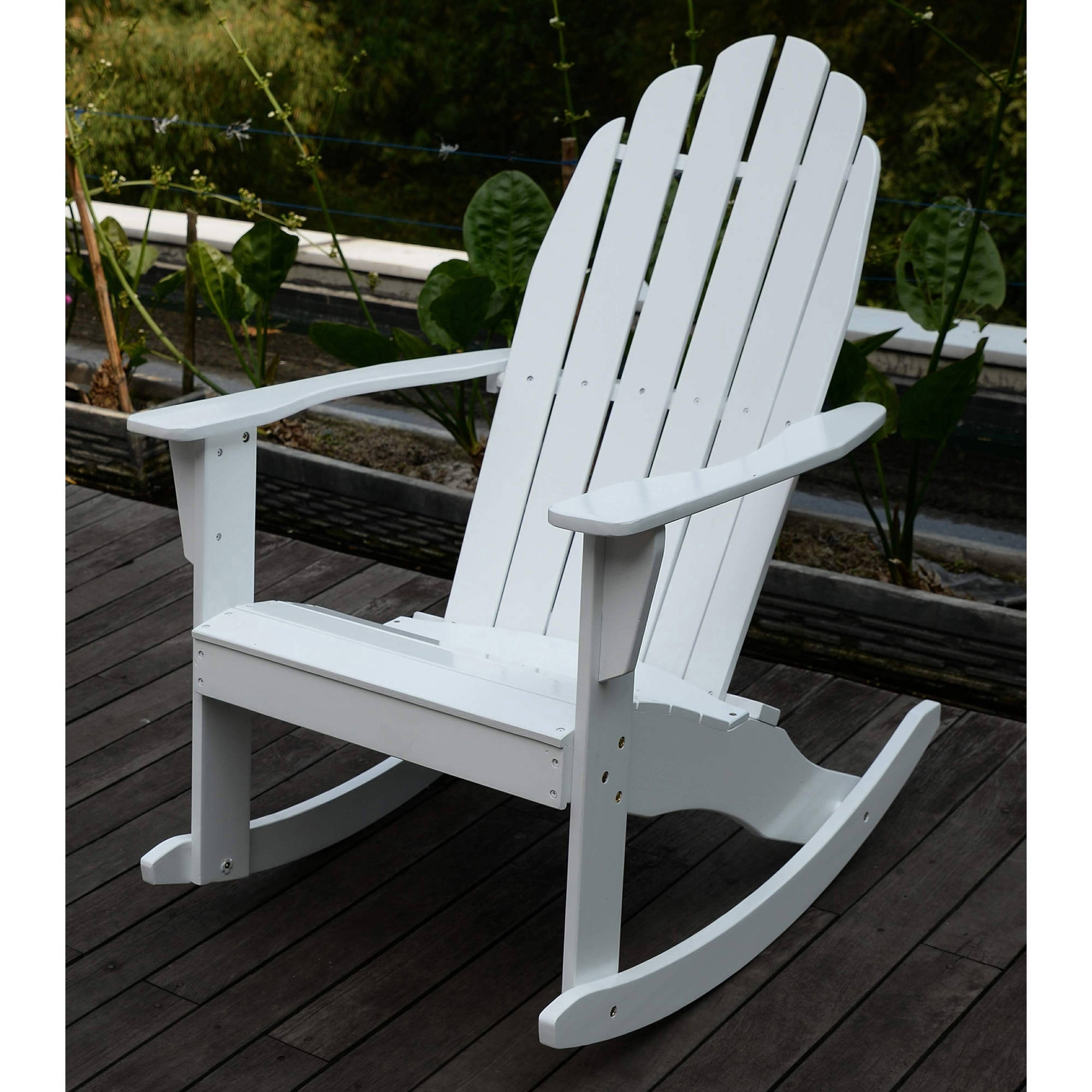 Adirondack Rocking Chair, White – Walmart Pertaining To Latest Rocking Chairs At Walmart (View 3 of 15)