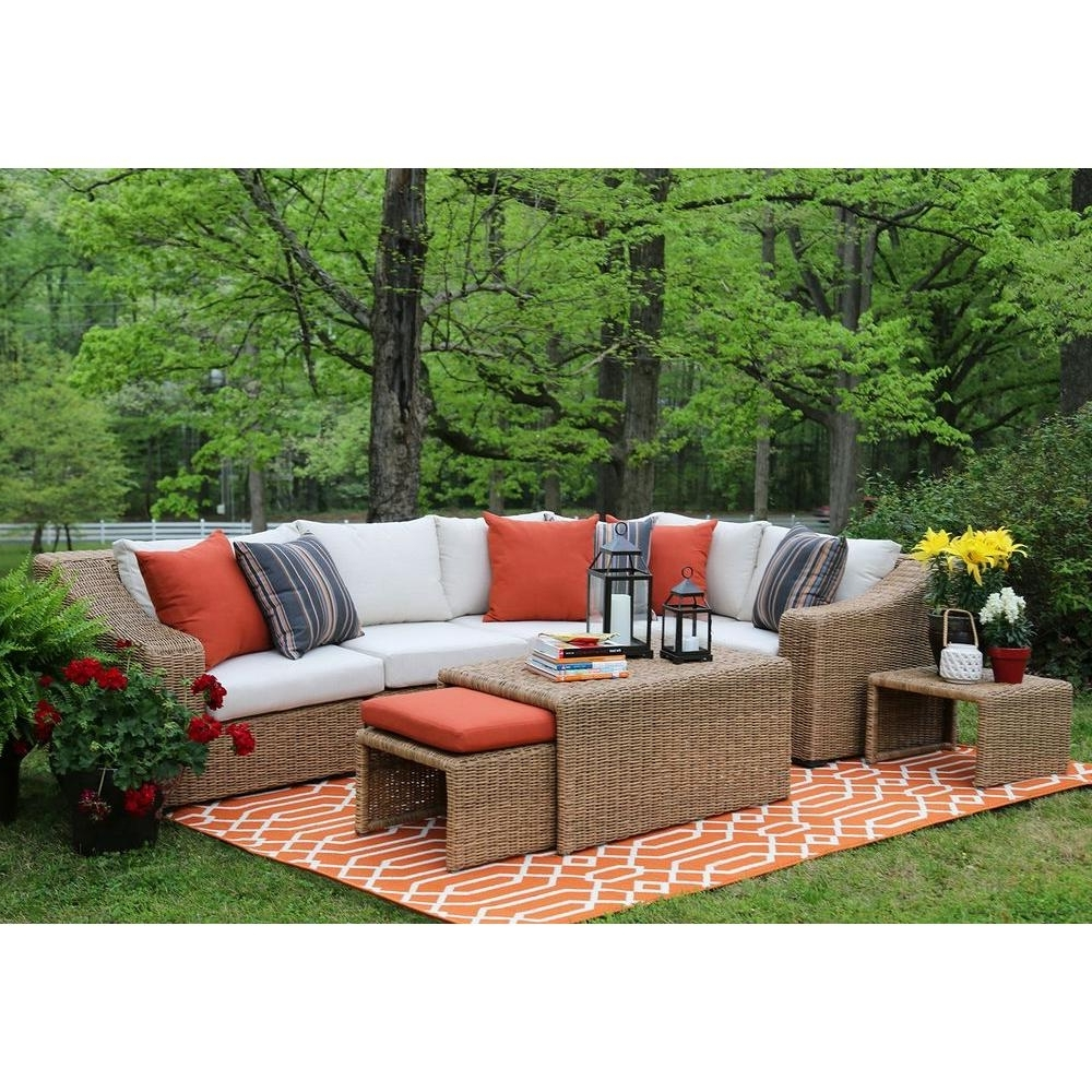 Ae Outdoor Arizona 8 Piece All Weather Wicker Patio Sectional With With Most Recently Released Sunbrella Patio Conversation Sets (View 1 of 15)