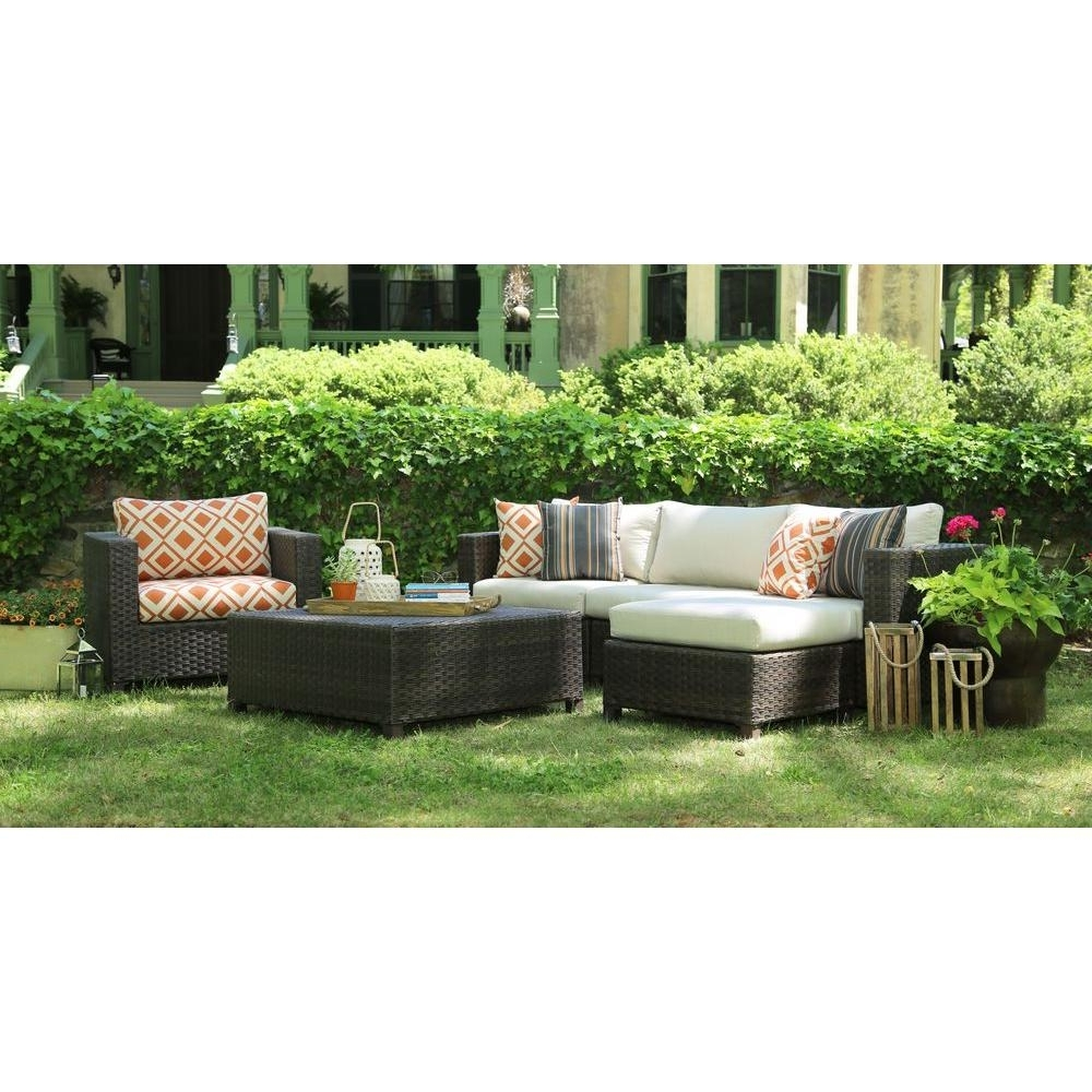 Ae Outdoor Biscayne 4 Piece Patio Deep Seating Set With Sunbrella Inside Well Liked Sunbrella Patio Conversation Sets (View 9 of 15)