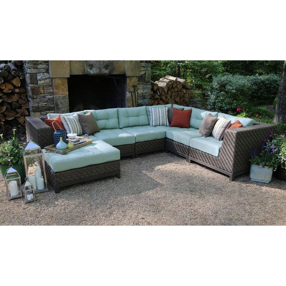 Ae Outdoor Dawson 7 Piece Patio Sectional Seating Set With Sunbrella Regarding Recent Sunbrella Patio Conversation Sets (View 2 of 15)