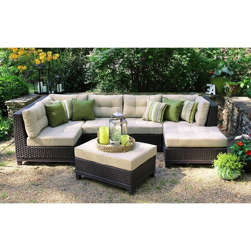 Ae Outdoor Hillborough 4 Piece All Weather Wicker Patio Sectional Within Best And Newest Patio Furniture Conversation Sets At Home Depot (View 11 of 15)