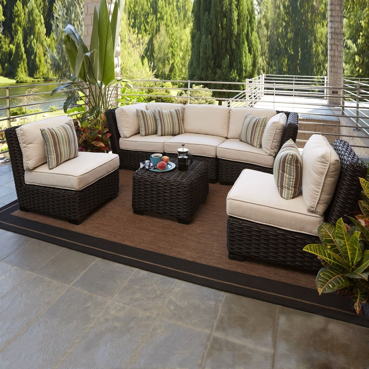 Allen + Roth Blaney 6 Piece Outdoor Conversation Set – (3)Lg 2023 Intended For Most Popular Patio Conversation Sets With Covers (View 9 of 15)