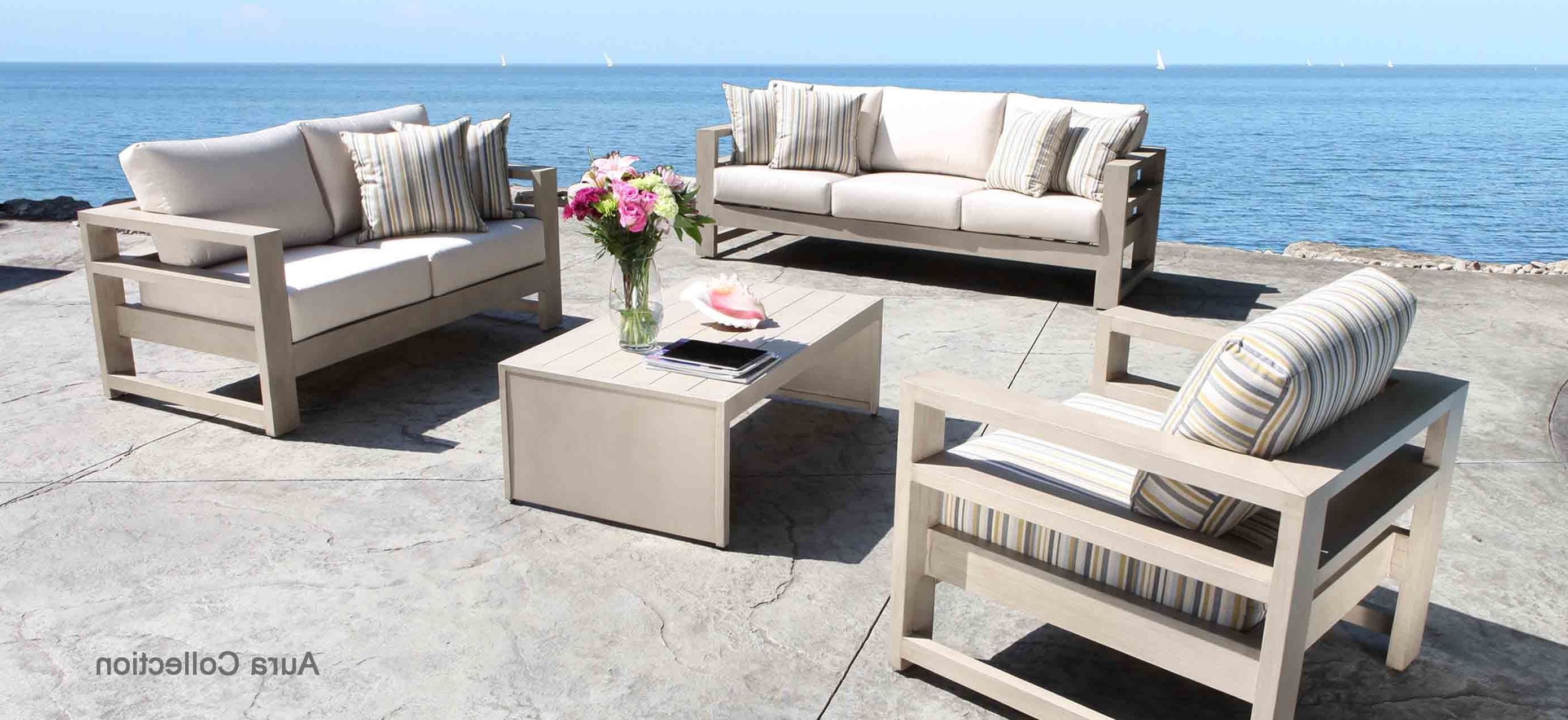 Aluminum Patio Conversation Sets Intended For 2017 Aura Cast Aluminum Patio Furniture Conversation Set With A Modern (View 3 of 15)