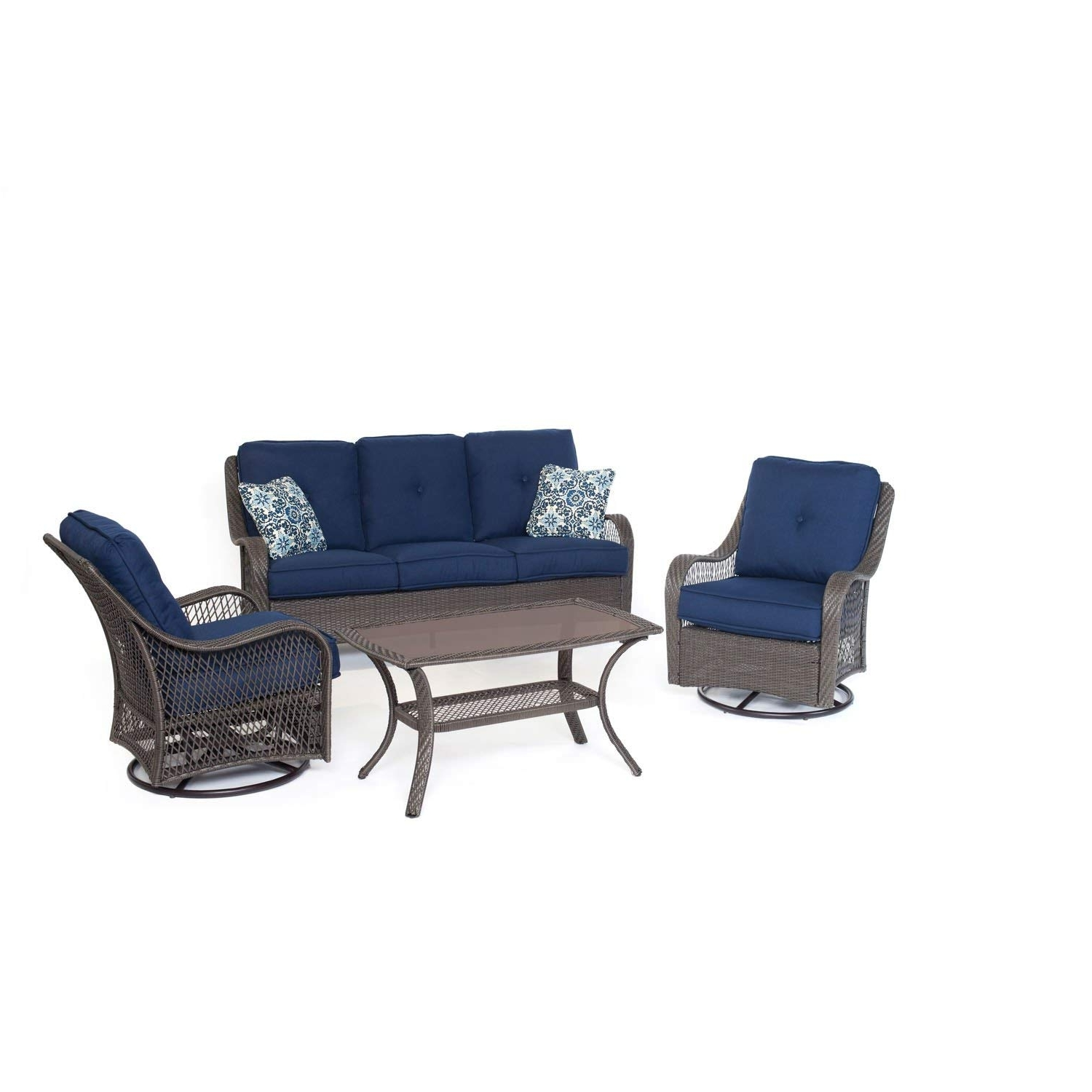 Amazon : Cambridge 4 Piece Hanover Outdoor Merritt All Weather Throughout 2017 Patio Conversation Sets With Blue Cushions (View 6 of 15)