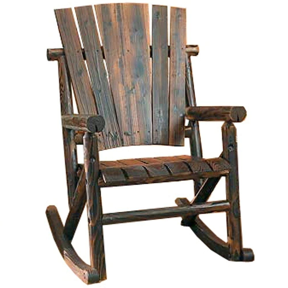 Amazon : Char Log Single Rocker : Rocking Chairs : Garden & Outdoor Regarding Most Recently Released Wooden Patio Rocking Chairs (View 1 of 15)