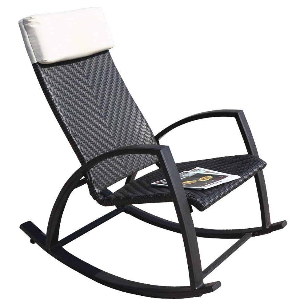 Amazon : Grand Patio Rattan Rocking Chair With Breathable With Regard To Newest Xl Rocking Chairs (View 1 of 15)