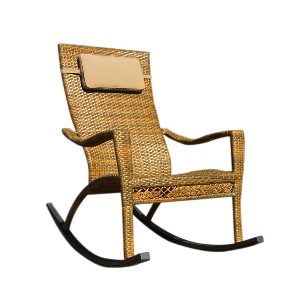 Amazon : Maracay Wicker Rocking Chair : Patio Rocking Chairs With Latest Wicker Rocking Chair With Magazine Holder (View 15 of 15)