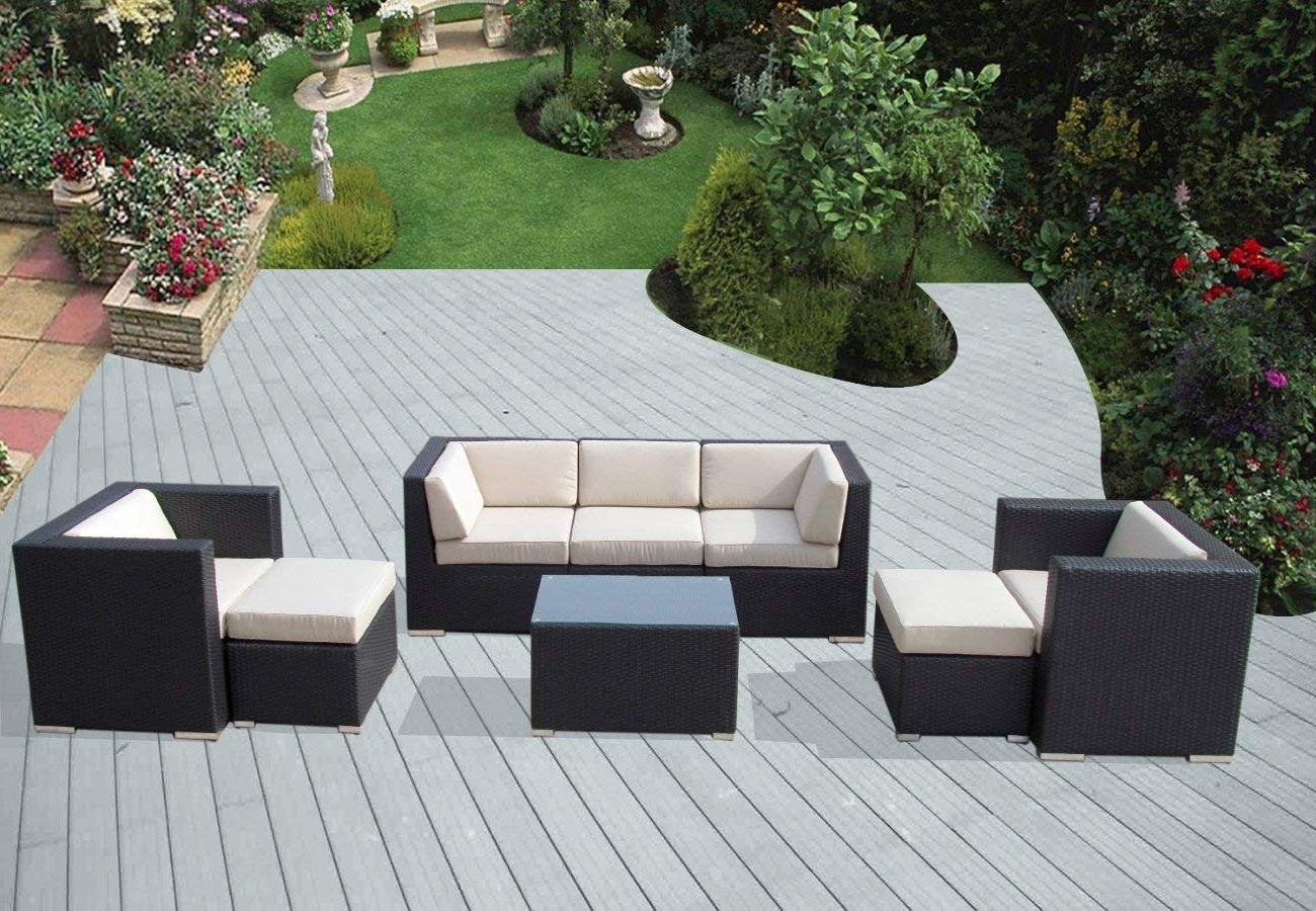 Amazon Patio Furniture Conversation Sets Regarding Most Popular Amazon: Ohana 8 Piece Outdoor Patio Furniture Sectional (View 5 of 15)