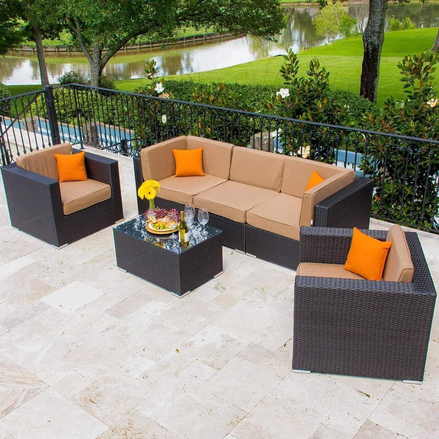 Amazon Patio Furniture Conversation Sets With Latest Amazon : Lakeview Outdoor Designs Avery Island 5 Person Resin (View 7 of 15)