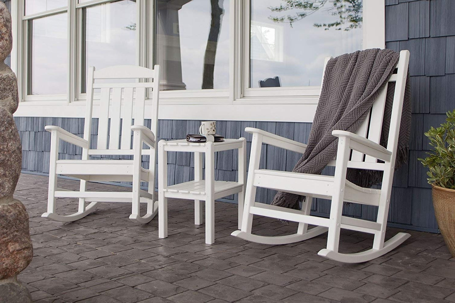 Amazon : Polywood Pws138 1 Wh Presidential 3 Piece Rocker Chair In Most Recent Used Patio Rocking Chairs (View 11 of 15)