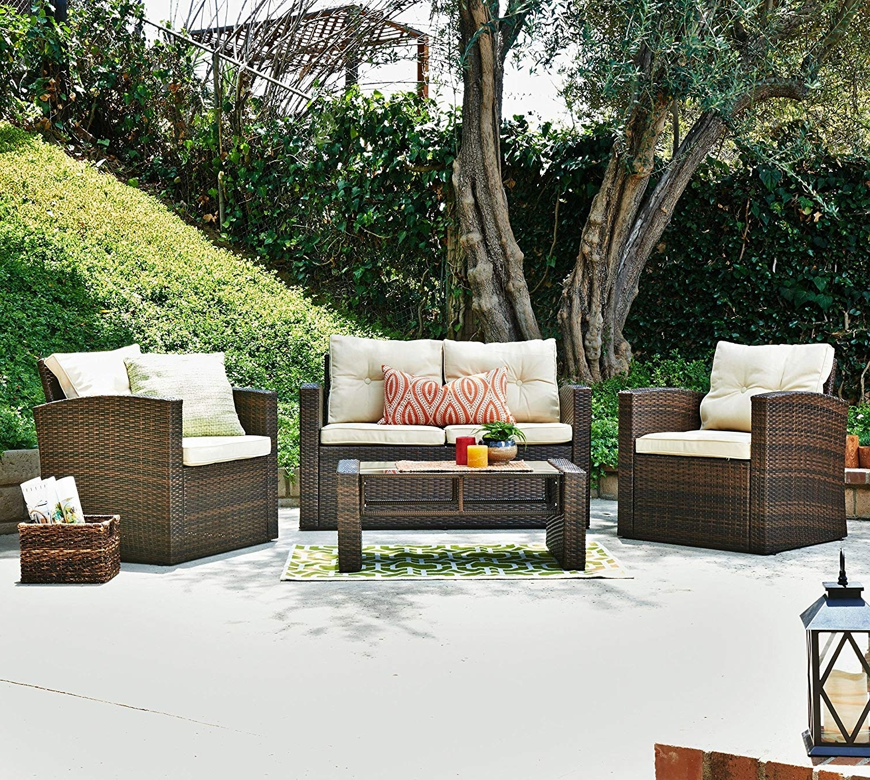 Amazon : The Hom Roatan 4 Piece Outdoor Wicker Conversation Sofa For Recent Amazon Patio Furniture Conversation Sets (View 11 of 15)