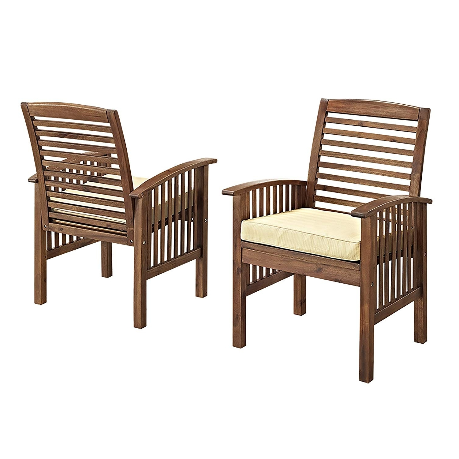 Amazon : We Furniture Solid Acacia Wood 4 Piece Patio Chat Set Regarding Latest Patio Conversation Sets With Cushions (View 11 of 15)