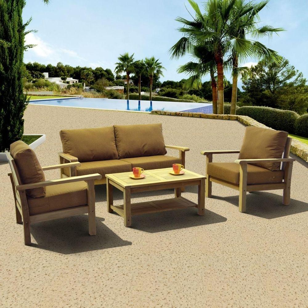 Amazonia Gilli 4 Piece Deep Patio Seating Set With Sunbrella Teak For Recent Teak Patio Conversation Sets (View 1 of 15)