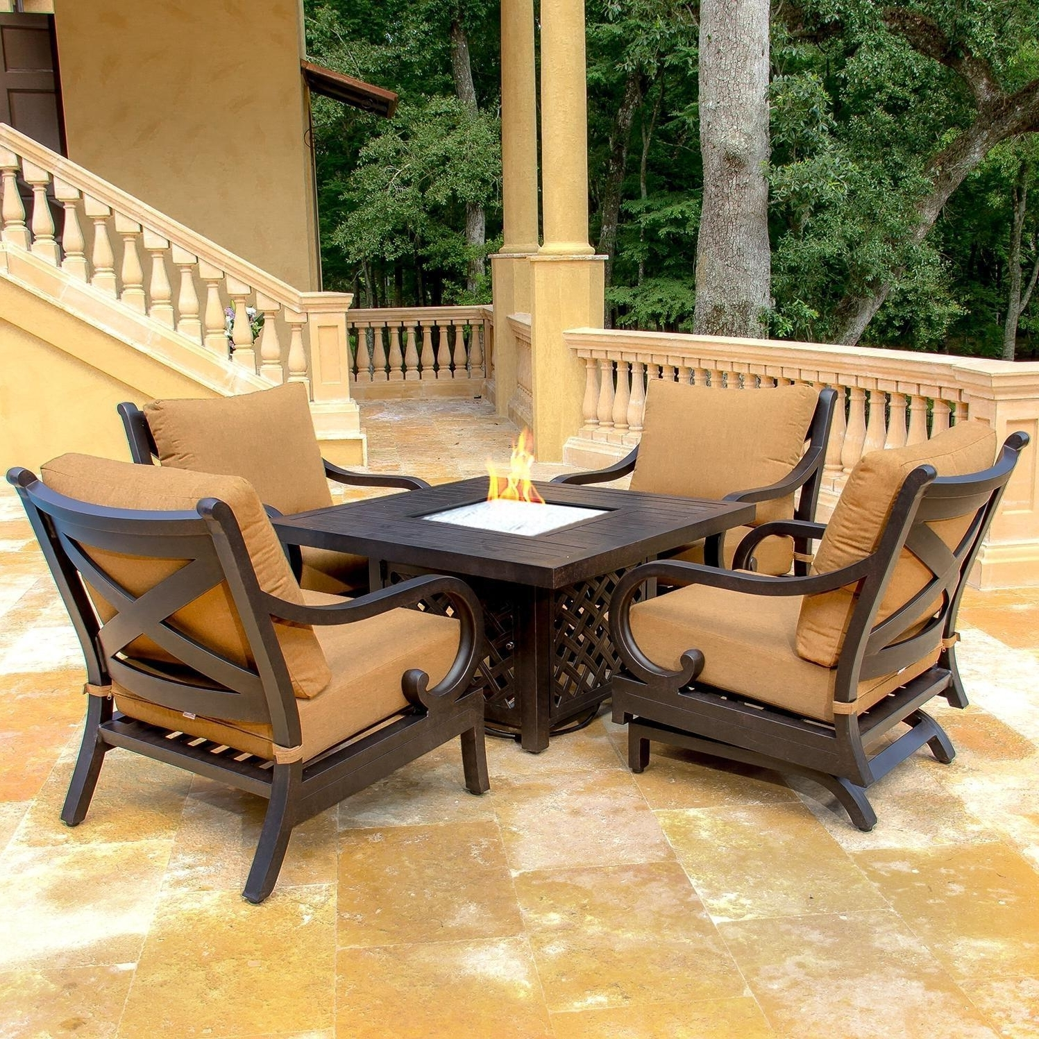 Awesome Collection Of Fortable Patio Furniture Home Simple Patio In 2017 Patio Conversation Sets Without Cushions (View 2 of 15)