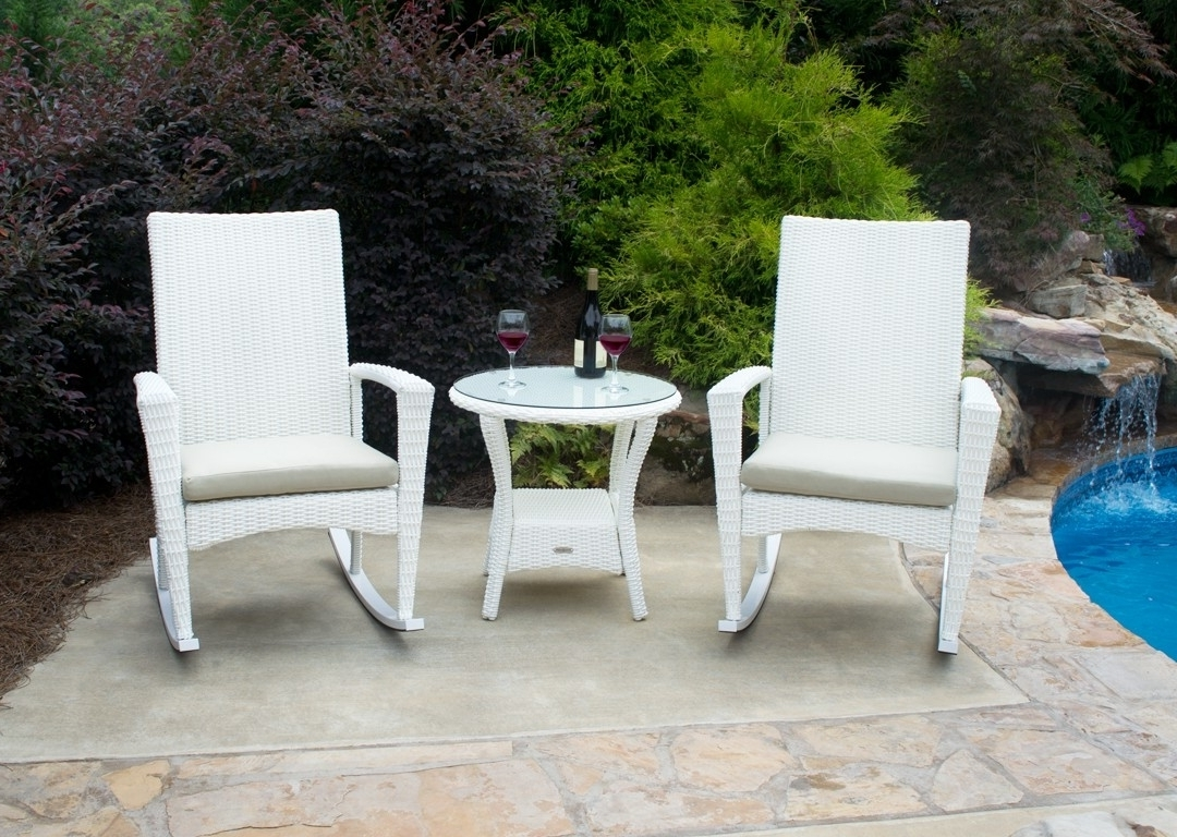 Bayview Rocking Chair 3 Piece Set In Magnolia White Wicker Inside Trendy Wicker Rocking Chairs Sets (View 11 of 15)