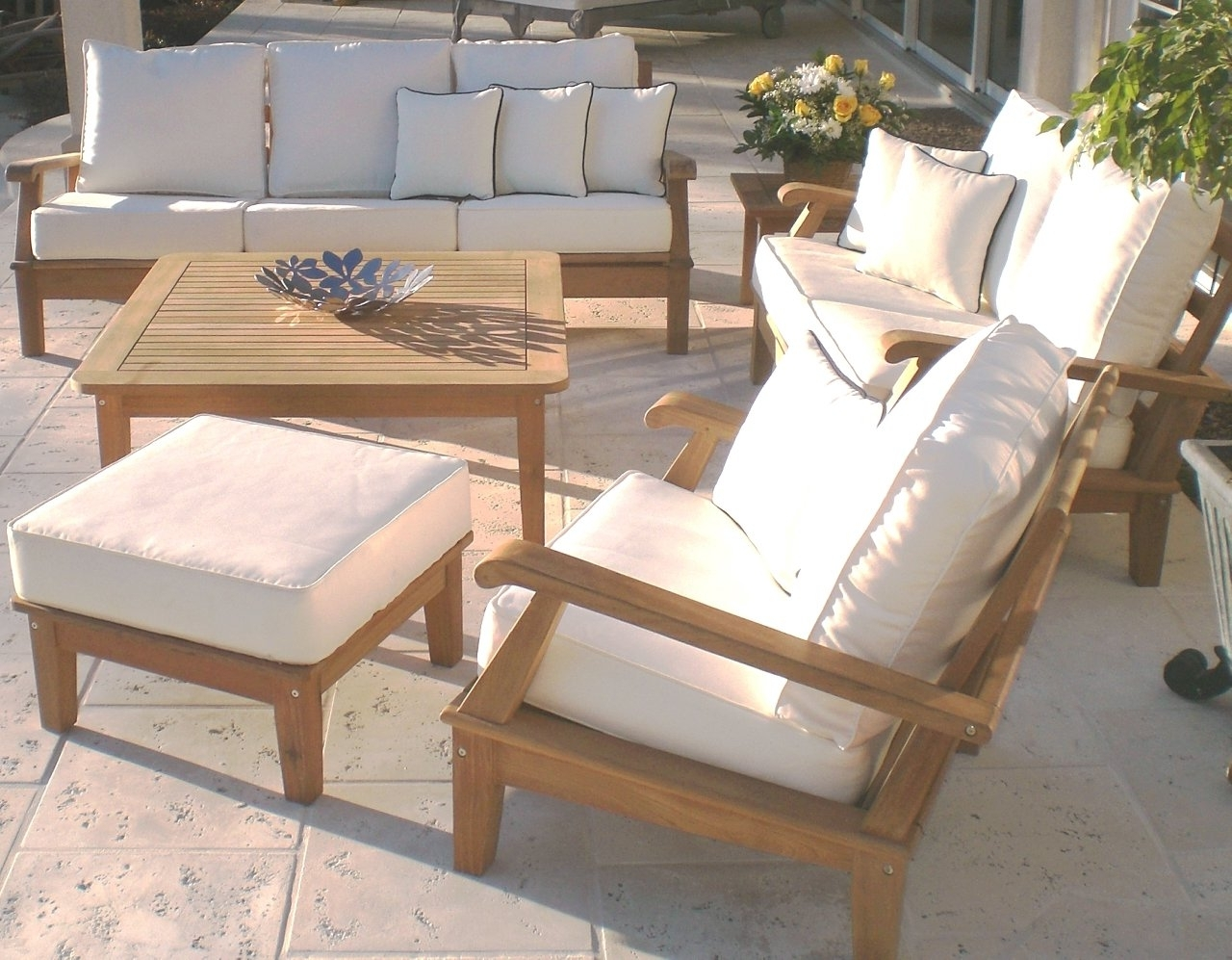 Beautiful And Cozy Teak Patio Set Furniture — Teak Furnituresteak Regarding Newest Teak Patio Conversation Sets (View 7 of 15)