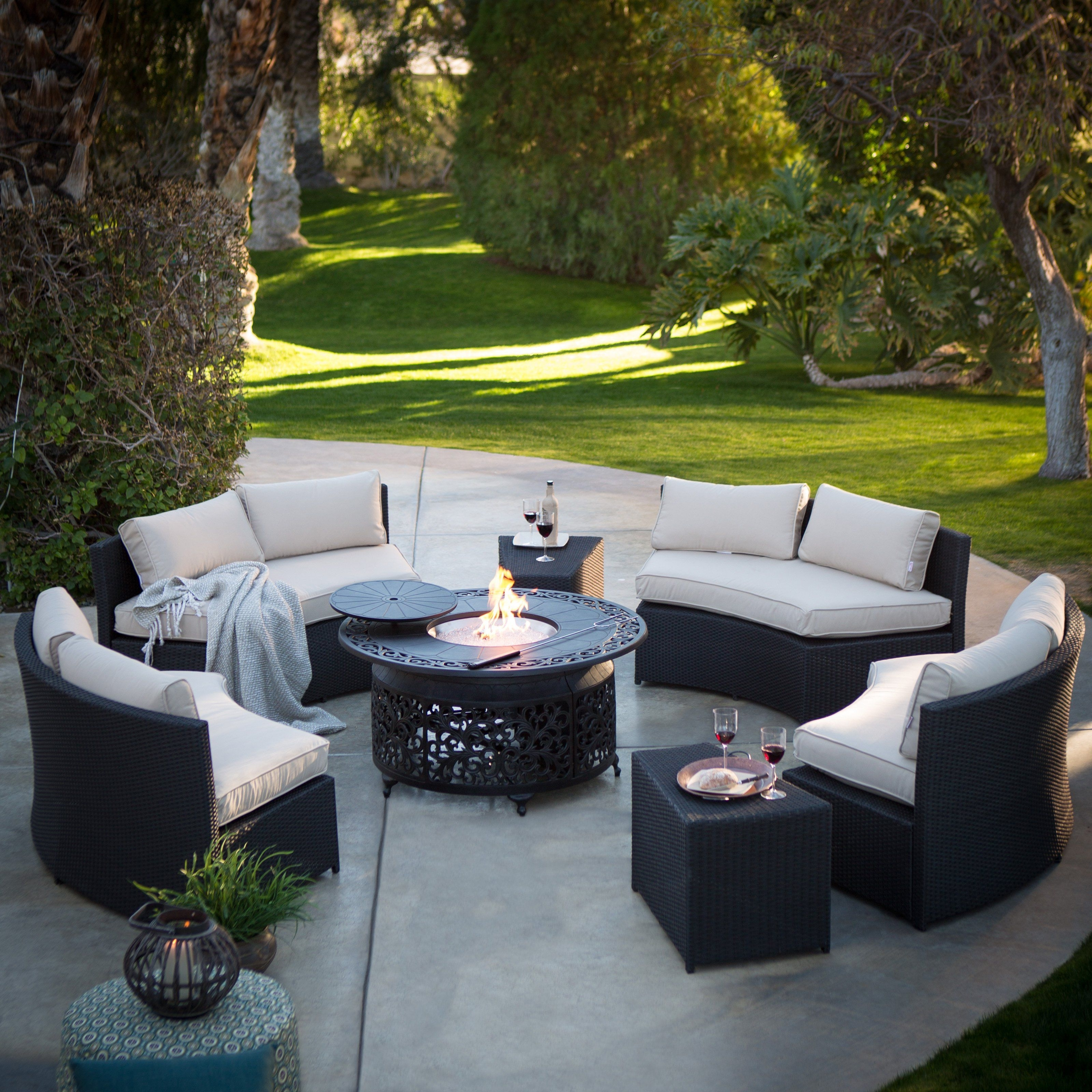 Belham Living Meridian All Weather Wicker Fire Pit Conversation Set Inside Latest Patio Conversation Sets With Sunbrella Cushions (View 2 of 15)