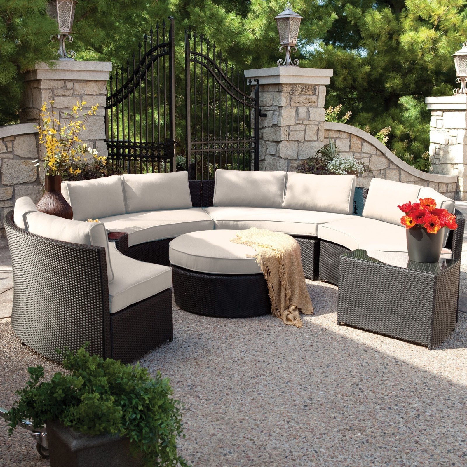 Belham Living Meridian Round Outdoor Wicker Patio Furniture Set With Regarding Recent Patio Conversation Sets With Sunbrella Cushions (View 5 of 15)