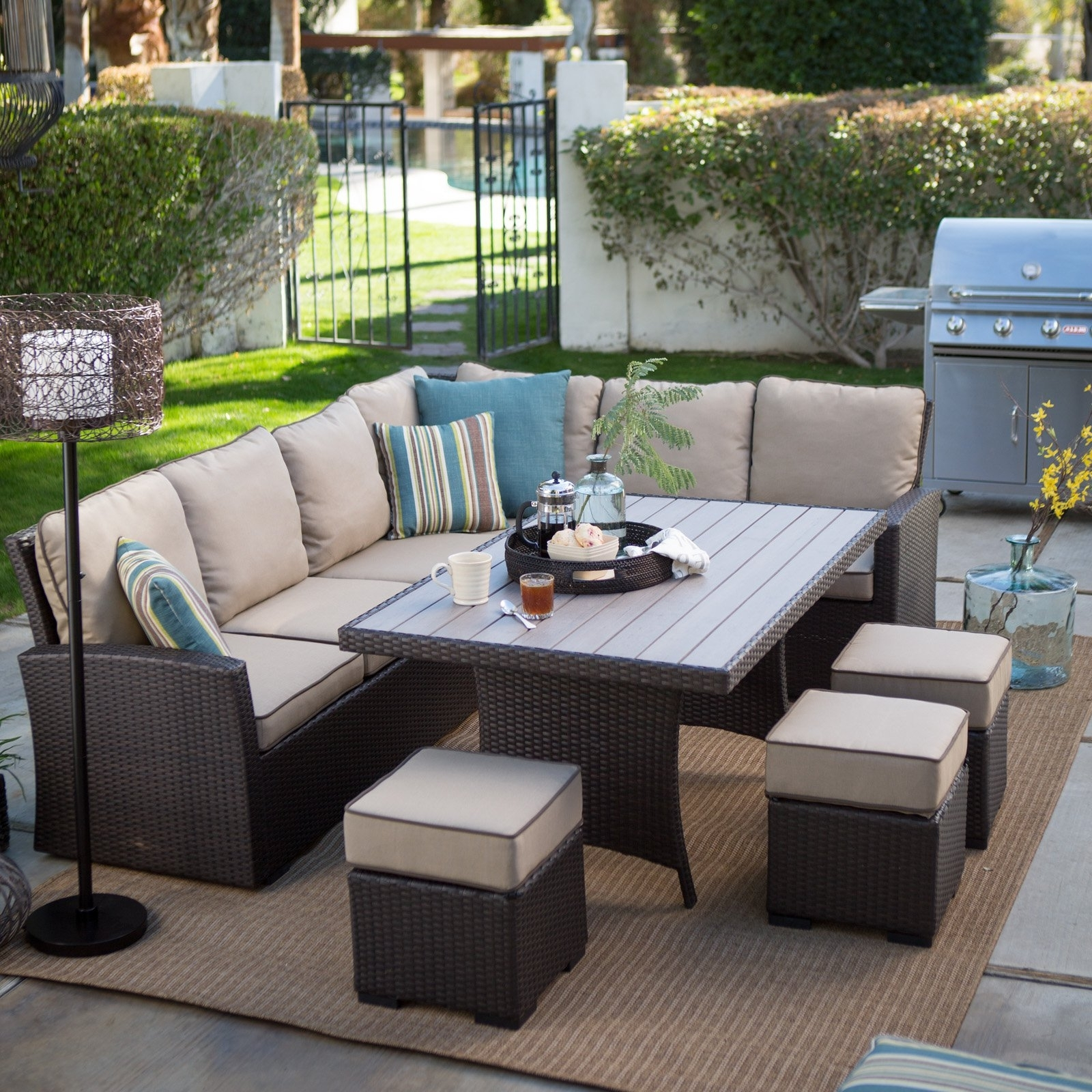 Belham Living Monticello All Weather Wicker Sofa Sectional Patio In Most Popular Resin Conversation Patio Sets (View 2 of 15)
