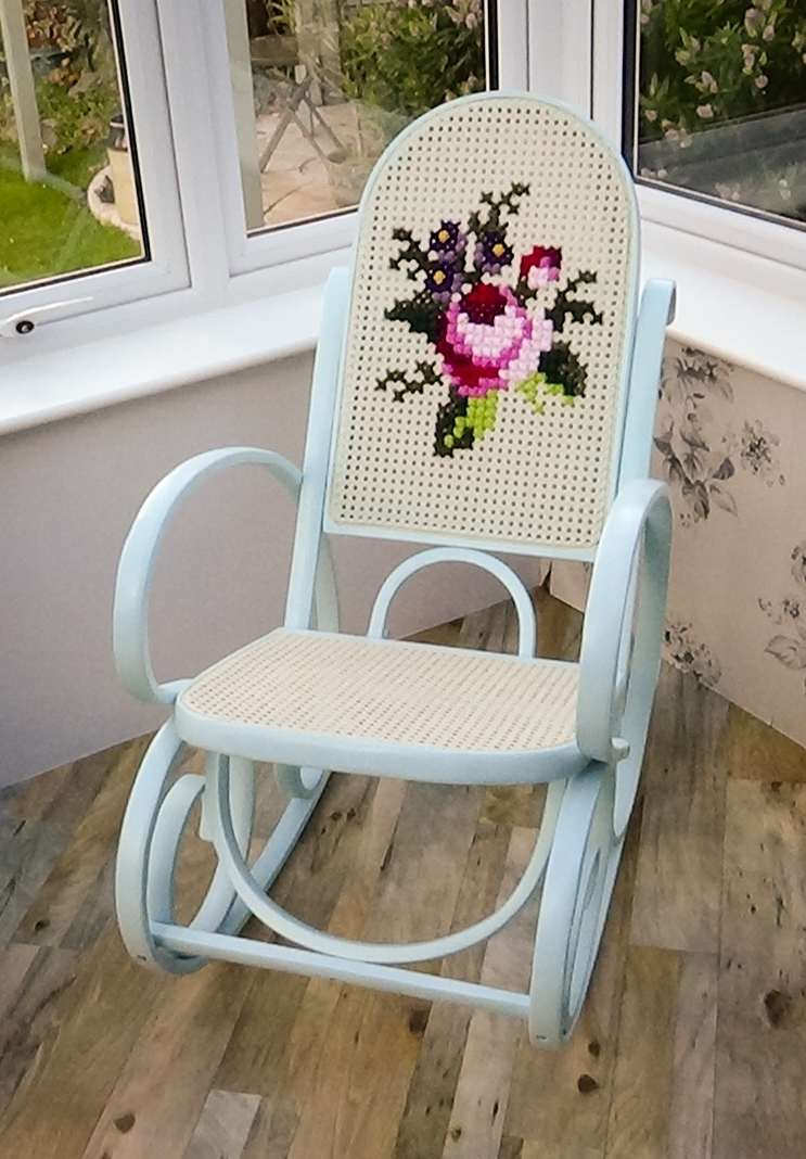 Bentwood Rocking Chair Upcycled With Embroidery (View 1 of 15)