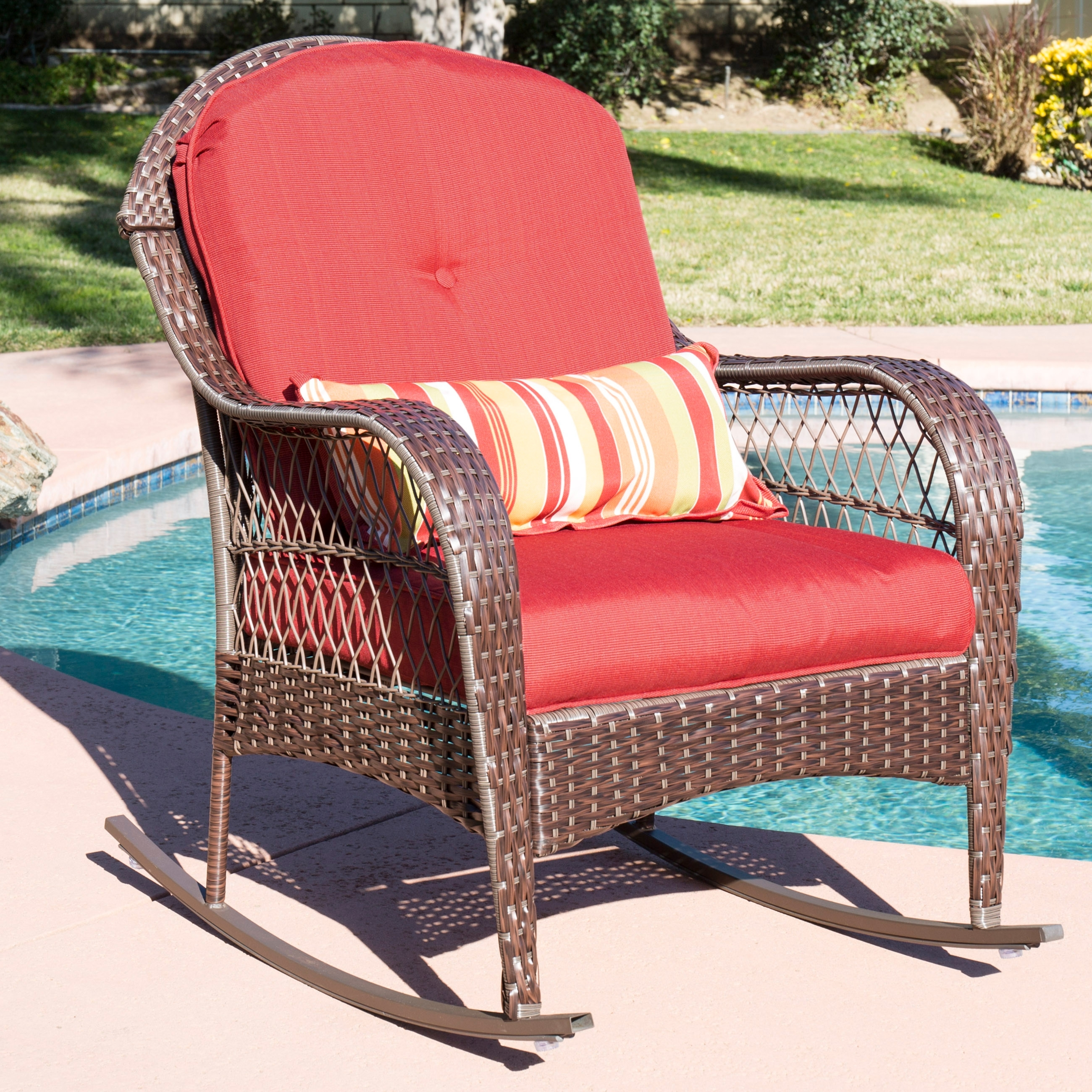 Best And Newest Best Choice Products Wicker Rocking Chair Patio Porch Deck Furniture Intended For Wicker Rocking Chairs With Cushions (View 2 of 15)