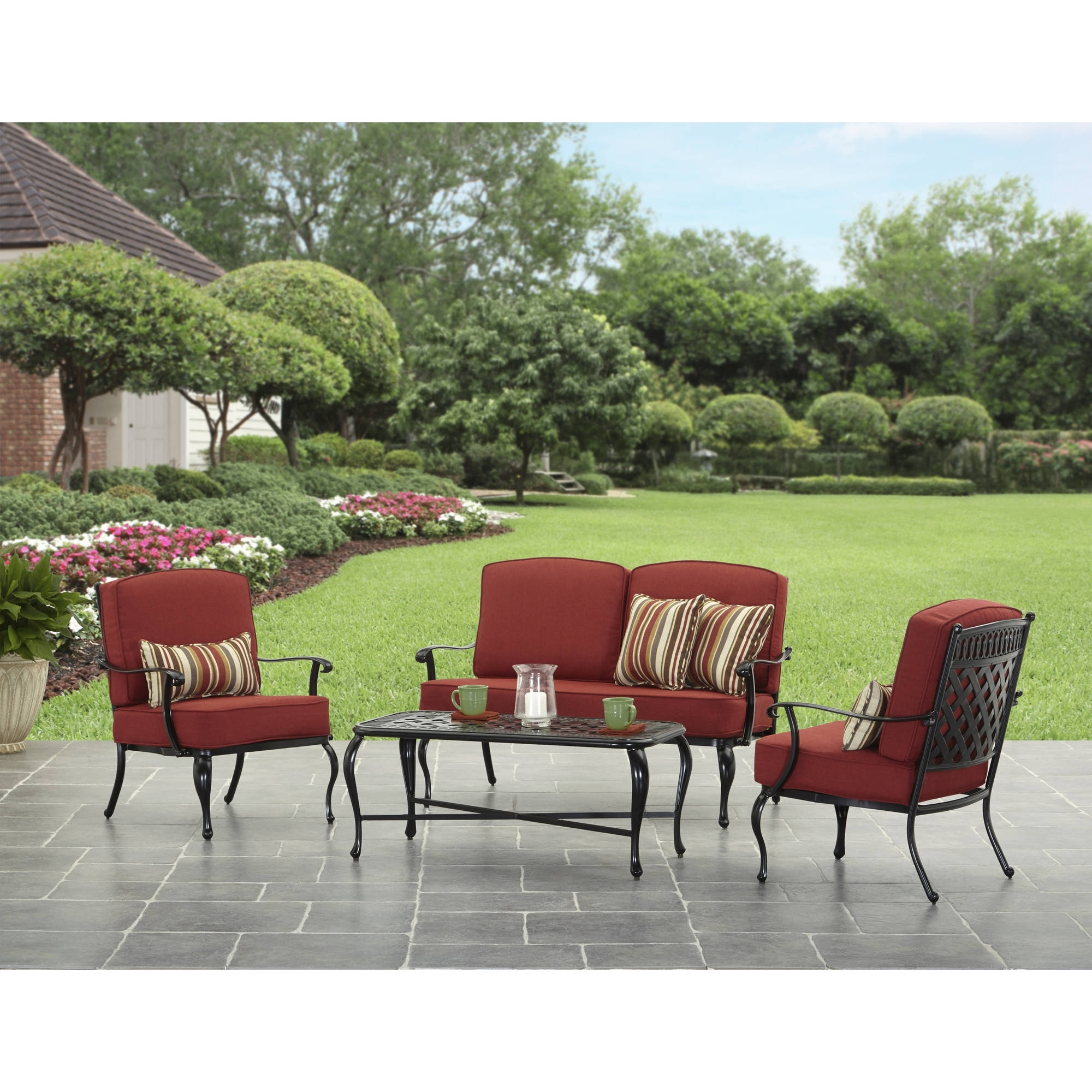 Best And Newest Dot Patio Conversation Sets Inside Better Homes And Garden Dawn Hill 4 Piece Outdoor Conversation Set (View 8 of 15)