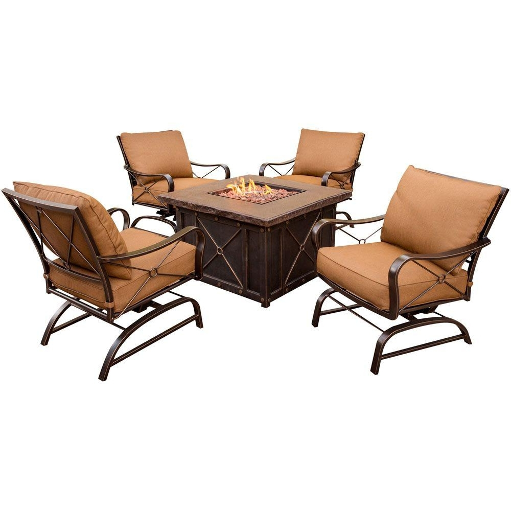 Best And Newest Hanover Summer Nights 5 Piece Patio Fire Pit Set With 4 Cushion Rockers And  40 In (View 1 of 15)