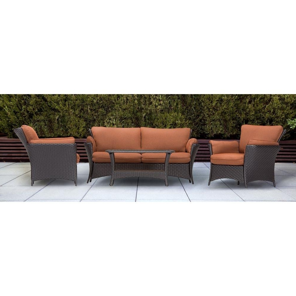 Best And Newest Patio Conversation Sets At Home Depot With Hanover Strathmere Allure 4 Piece Patio Conversation Set With (View 1 of 15)