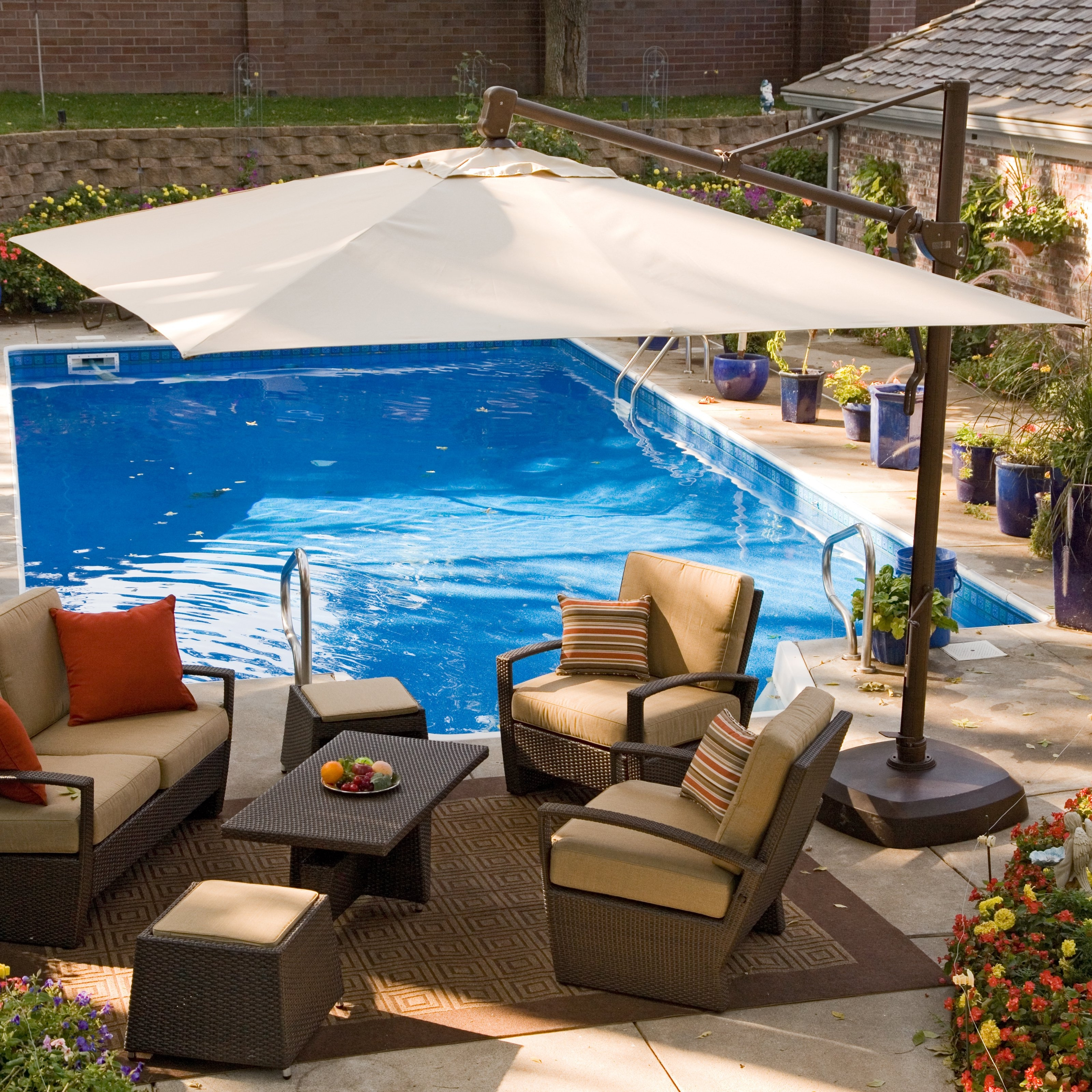 Best And Newest Patio Conversation Sets With Umbrella Intended For Patio Ideas: Heavy Duty Patio Umbrella With White Patio Umbrella And (View 11 of 15)