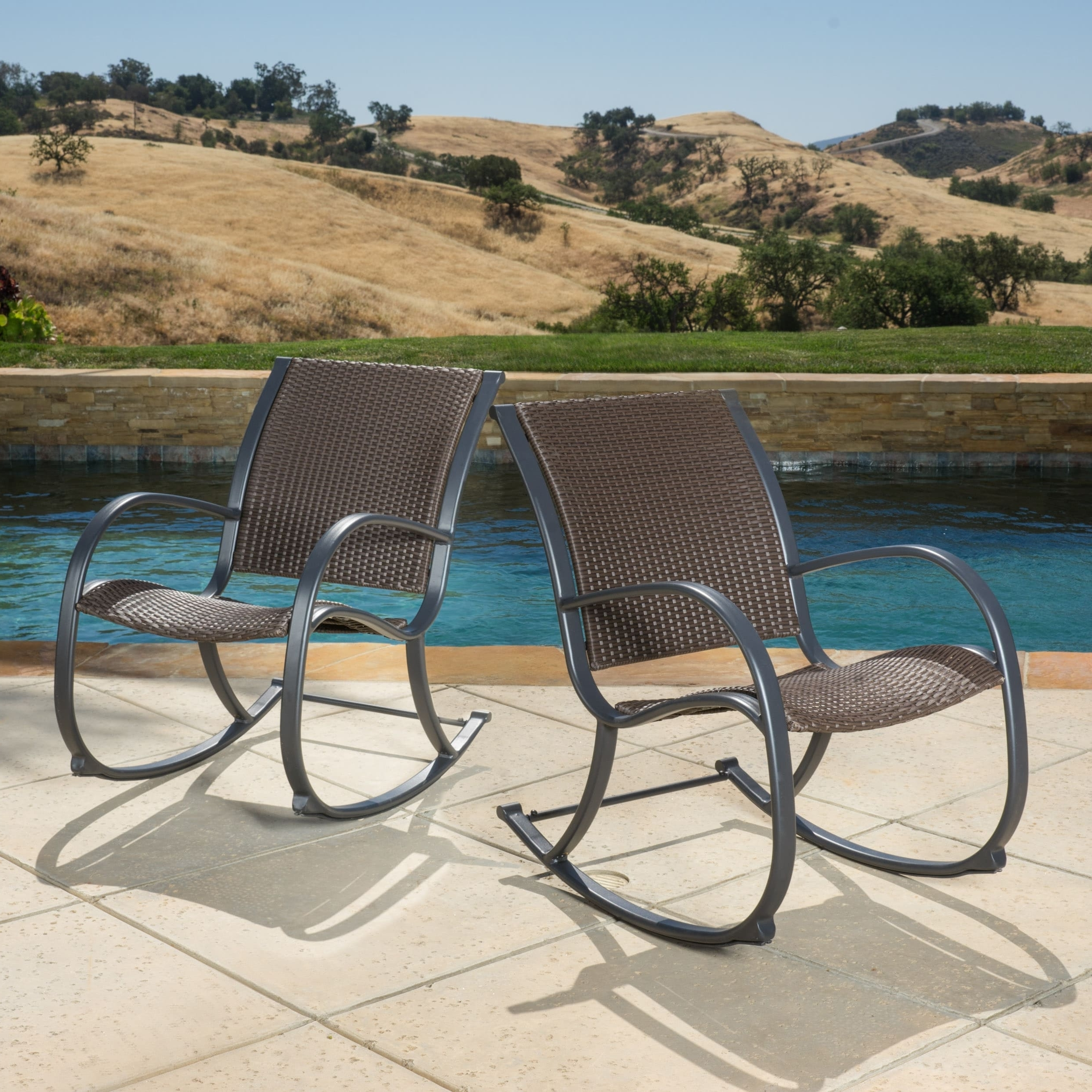 Best And Newest Shop Gracie's Outdoor Wicker Rocking Chair (Set Of 2)Christopher Intended For Wicker Rocking Chairs Sets (View 12 of 15)