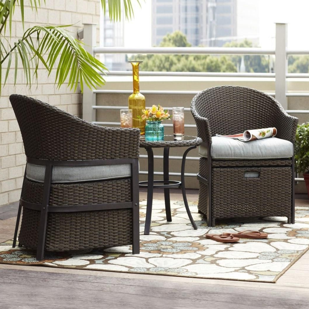 Best And Newest This 5 Piece Conversation Set In Wicker And Light Blue Cushions Is For Patio Conversation Sets For Small Spaces (View 1 of 15)